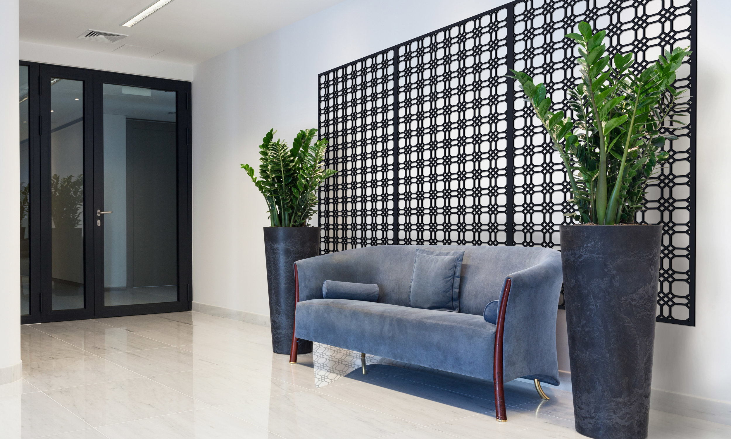 Installation Rendering A   Chicago Grille decorative office wall panel - shown in Cherry wood
