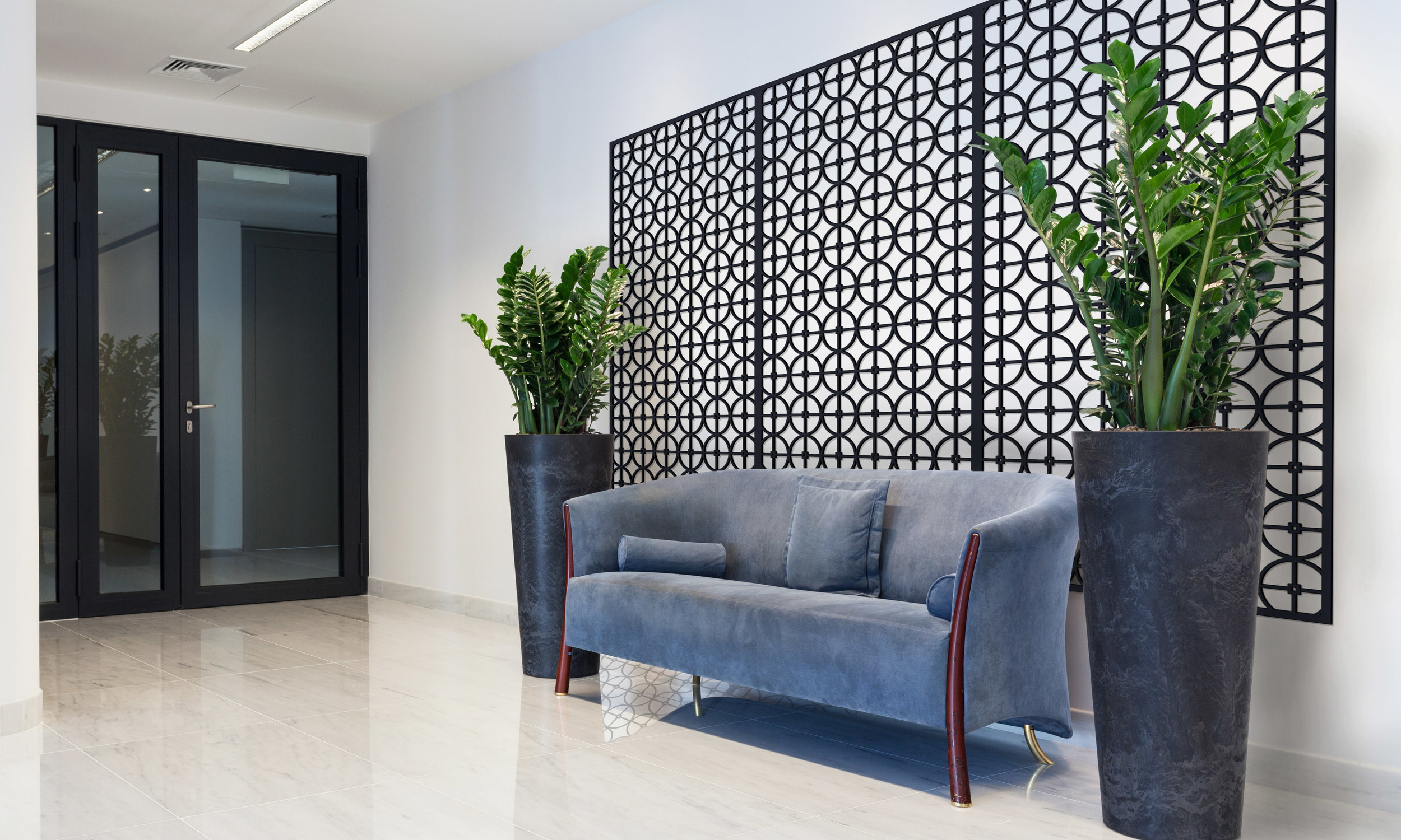 Installation Rendering B   Circles Grille decorative office wall panel - painted