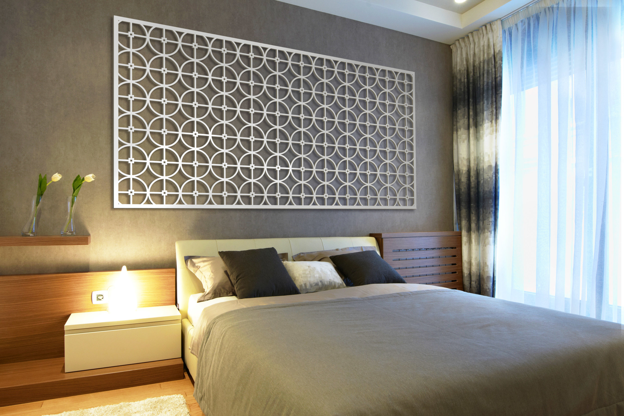 Installation Rendering C   Circles Grille decorative hotel wall panel - painted