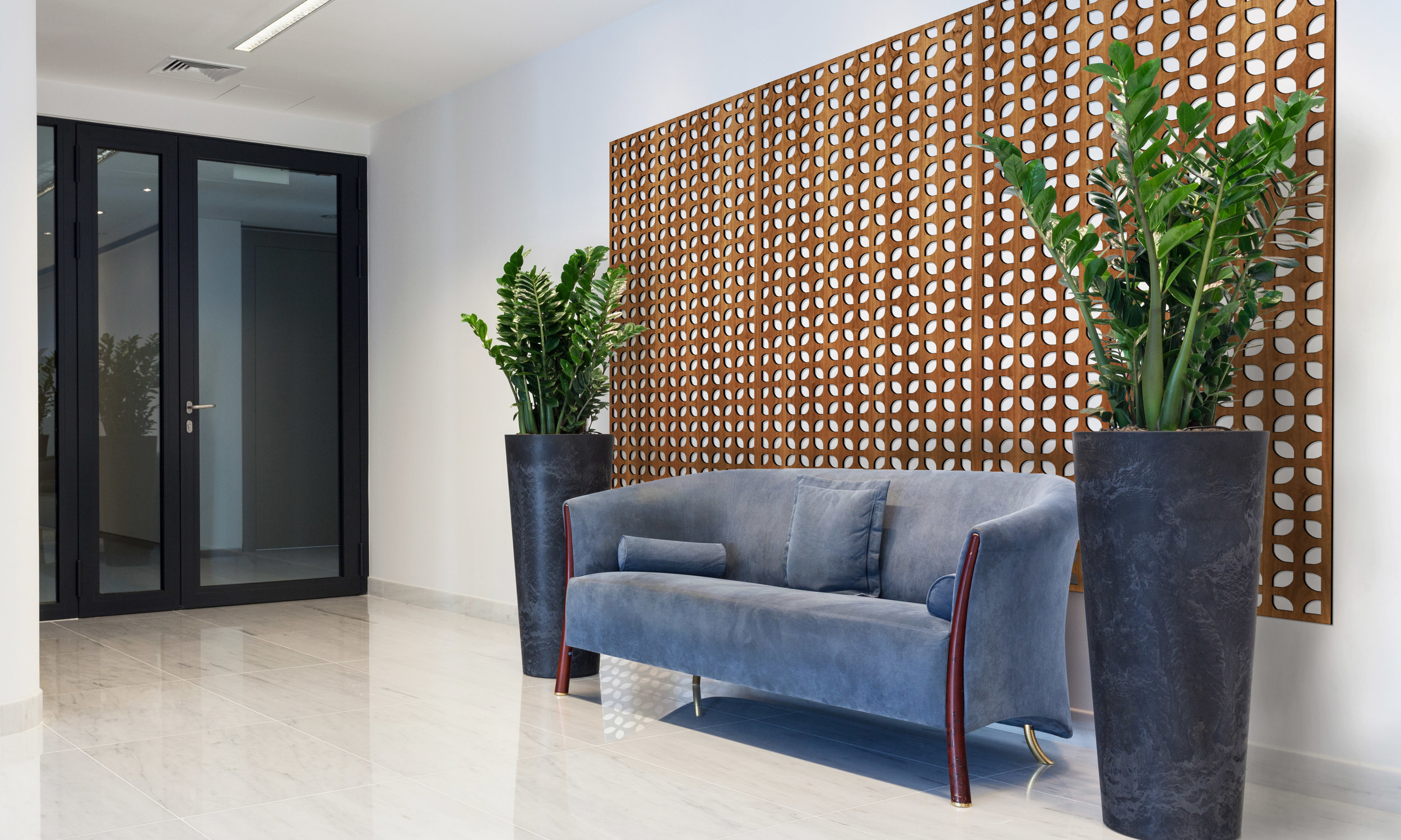 Installation Rendering A   Copenhagan decorative office wall panel - shown in Cherry