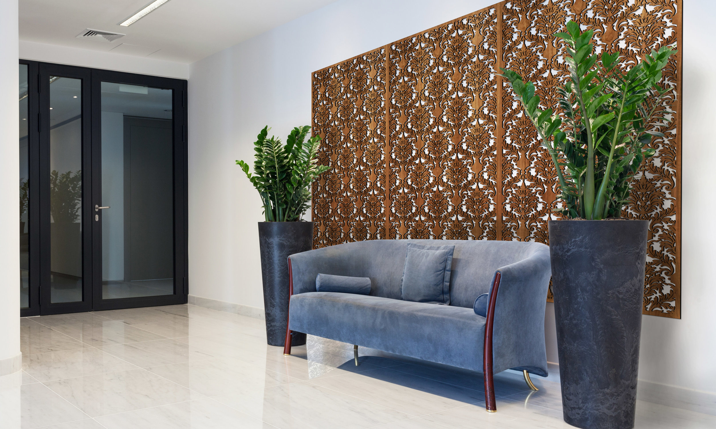 Installation Rendering A   Damask decorative office wall panel - shown in Cherry
