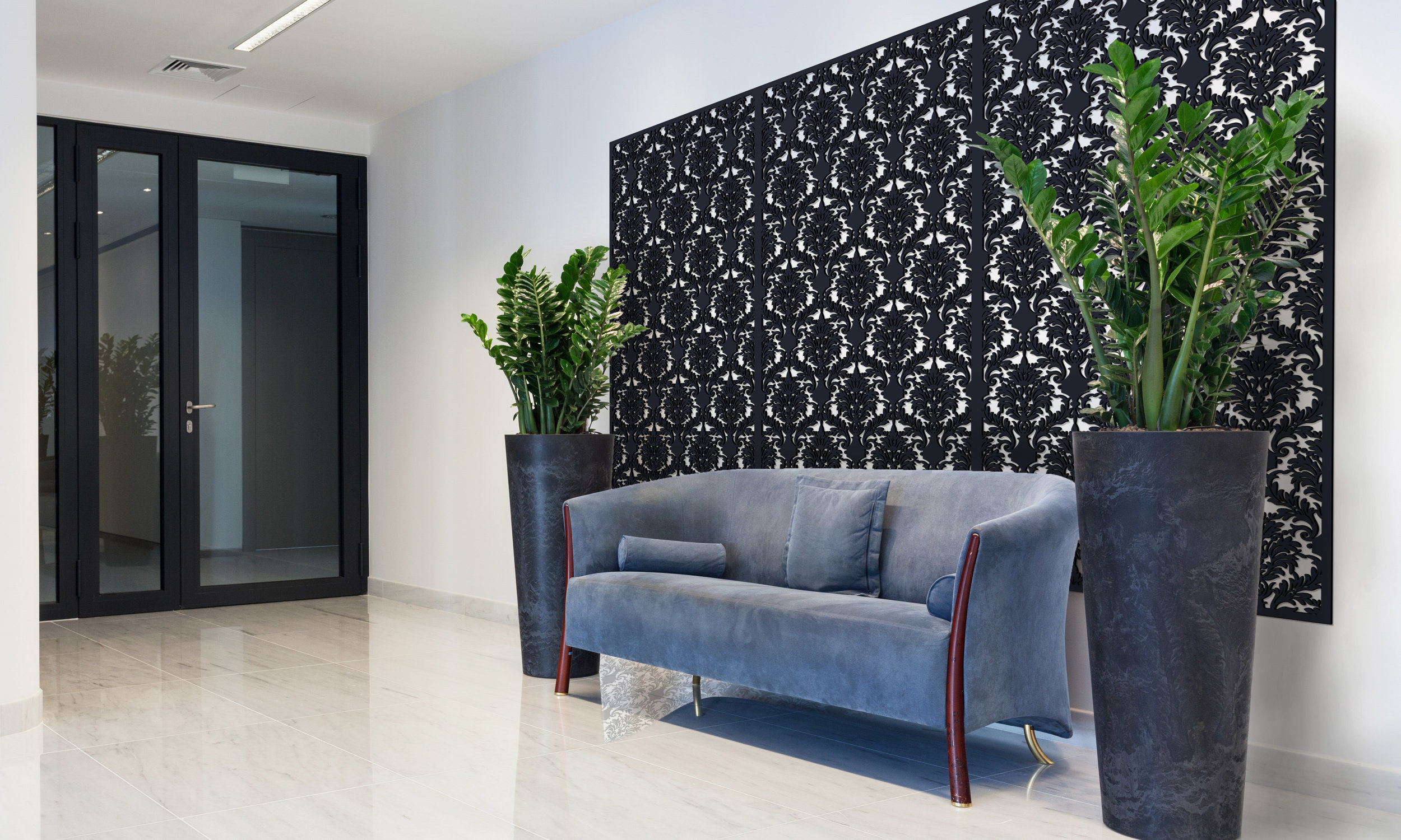 Installation Rendering B   Damask decorative office wall panel - painted