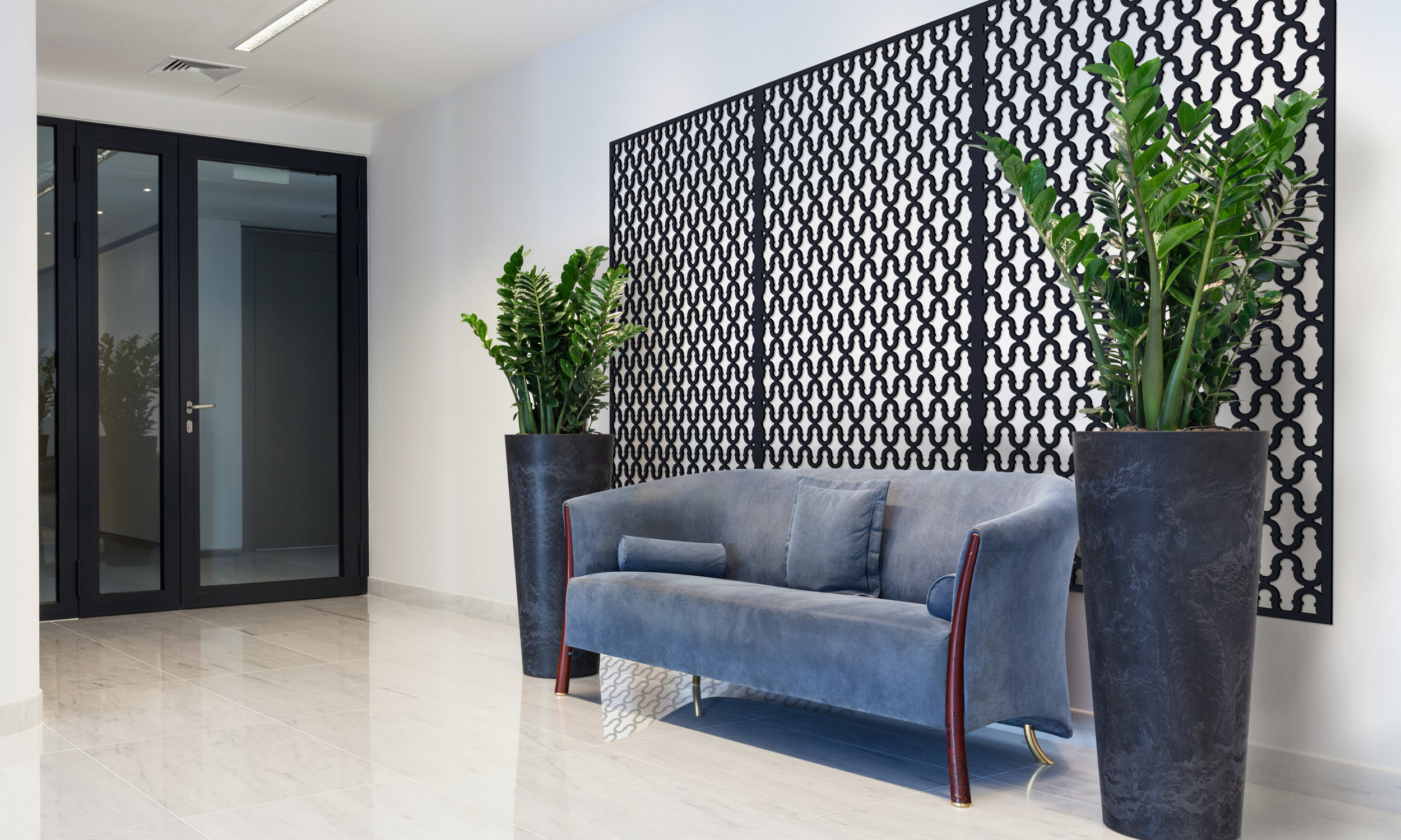 Installation Rendering A   Double Horseshoe decorative office wall panel - painted