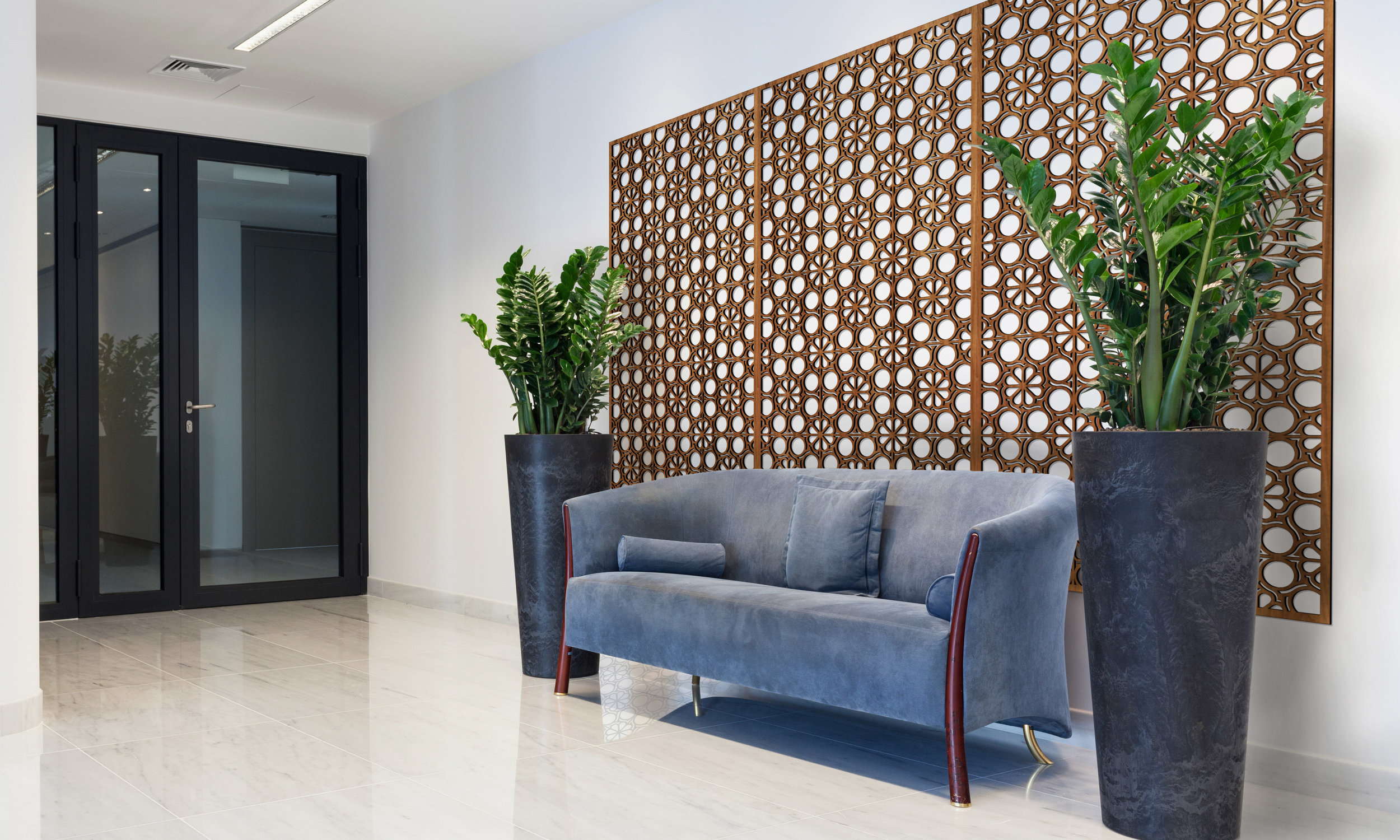 Installation Rendering A   Flower Circles decorative office wall panel - shown in Cherry