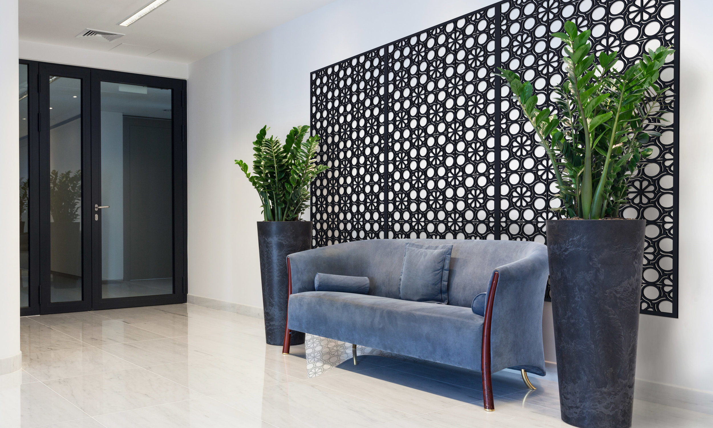 Installation Rendering B   Flower Circles decorative office wall panel - painted