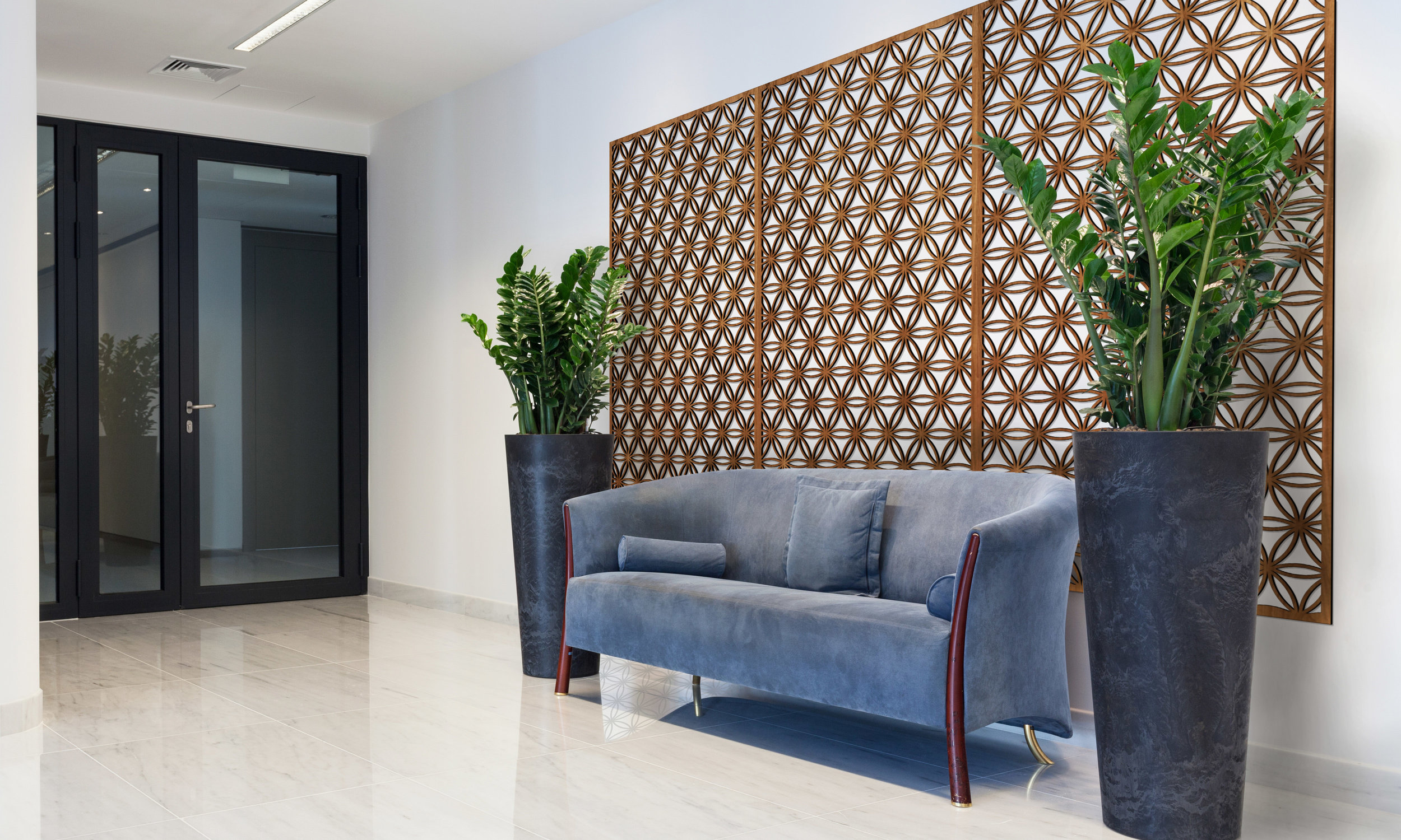 Installation Rendering A   Flower of Life decorative office wall panel - shown in Cherry