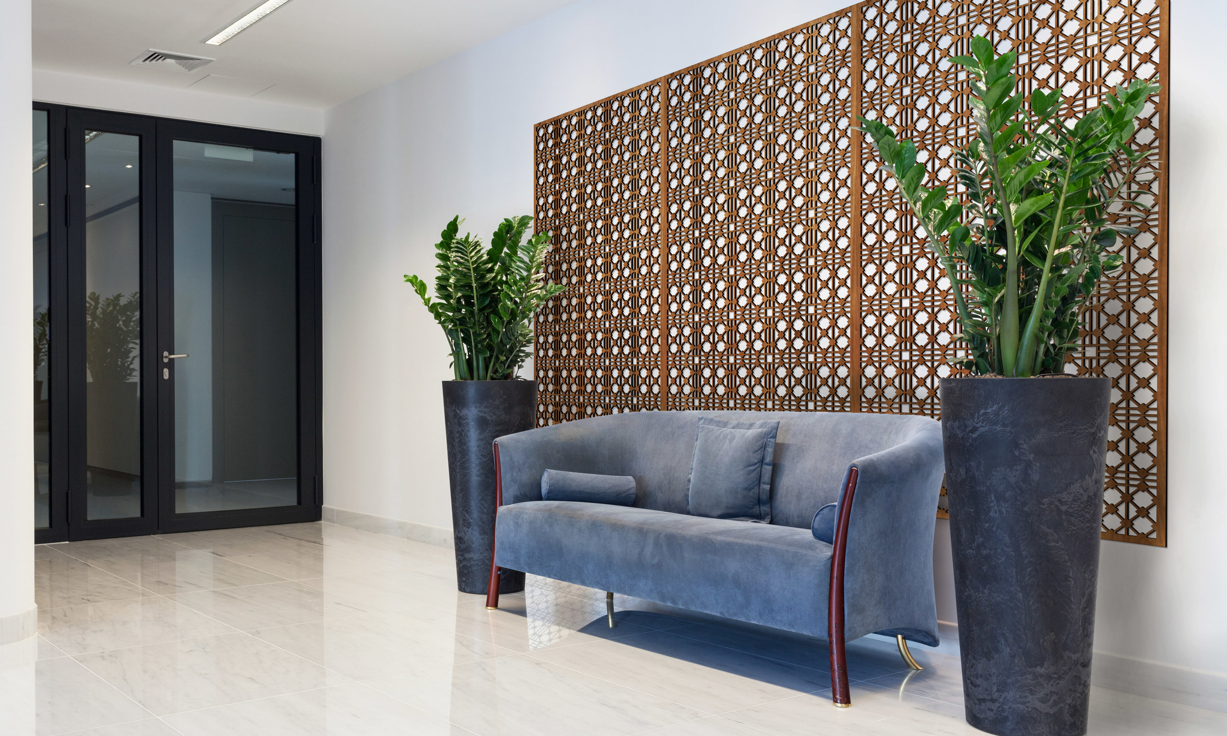 Installation Rendering A   Hardt Grille decorative office wall panel - shown in Cherry