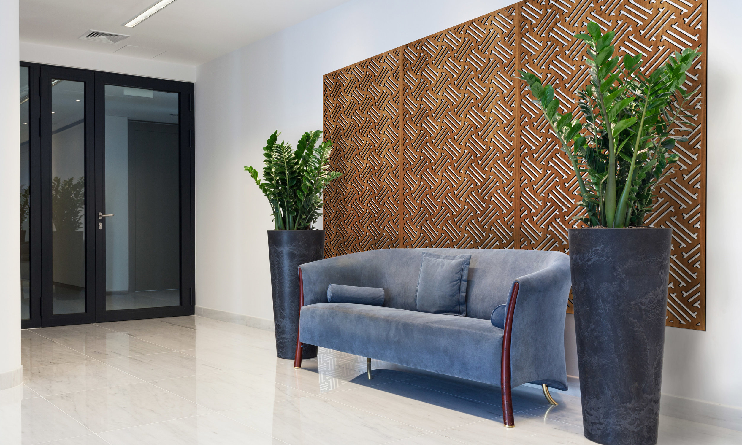 Installation Rendering A   Hawaiian decorative office wall panel - shown in Cherry