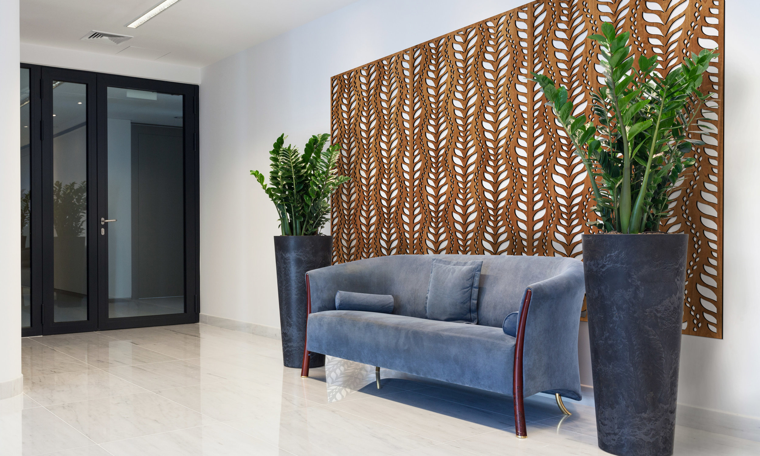 Installation Rendering A   La Jolla decorative office wall panel - shown in Cherry