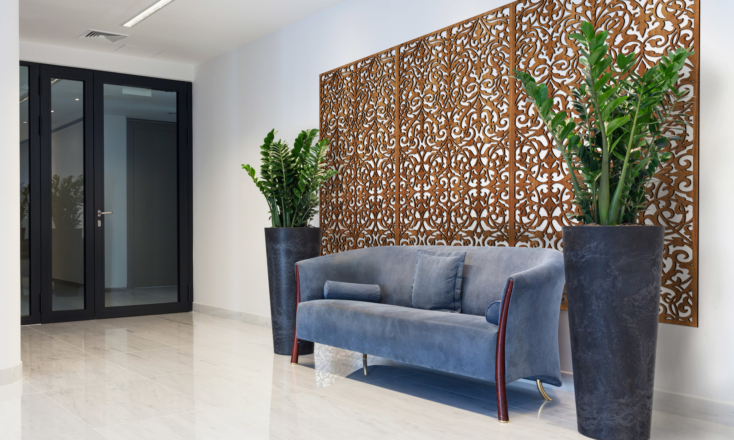 Installation Rendering A   Ornate Damask decorative office wall panel - shown in Cherry