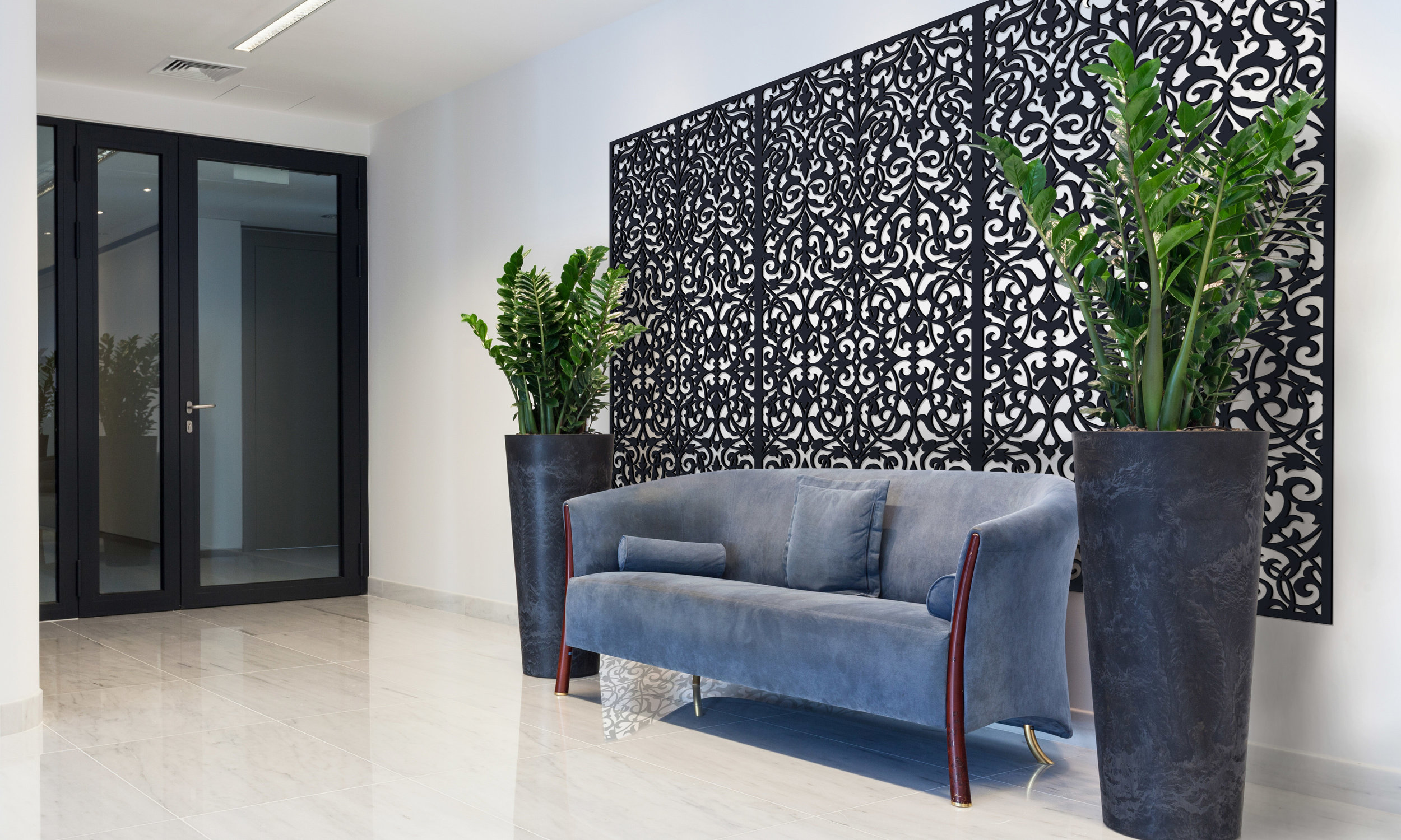 Installation Rendering C   Ornate Damask decorative office wall panel - painted