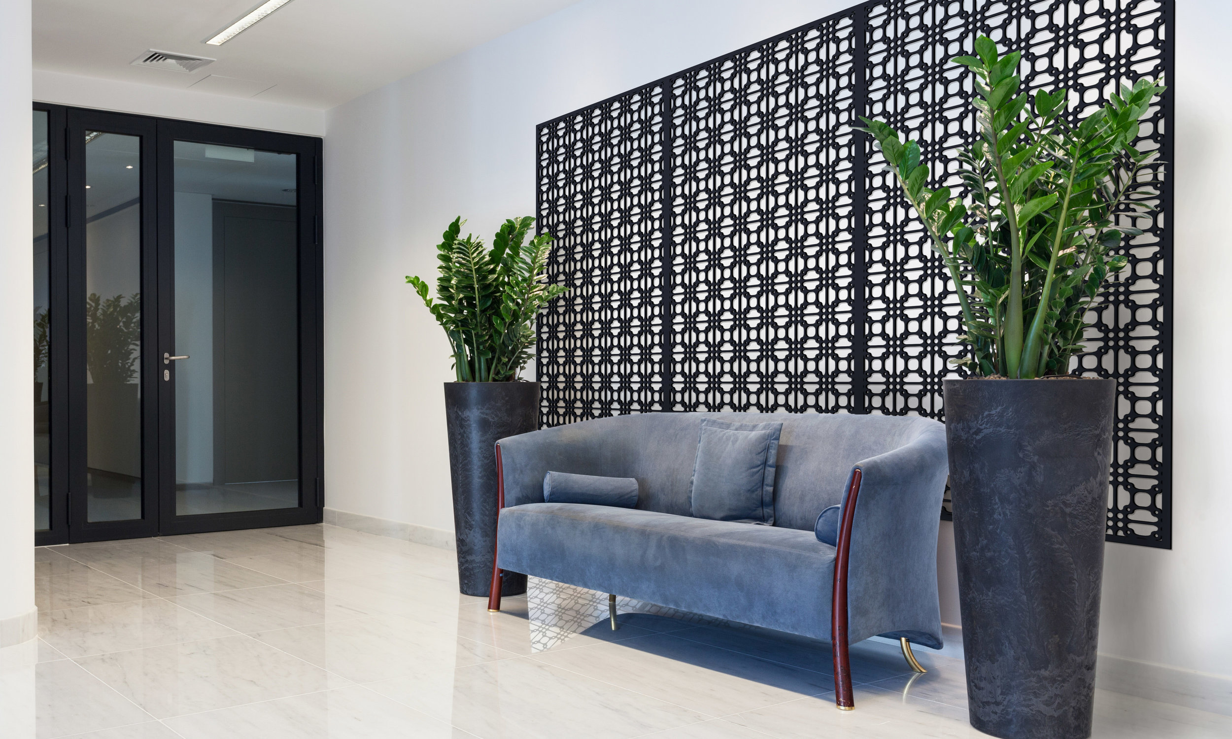 Installation Rendering B   Perry Grille decorative office wall panel - painted