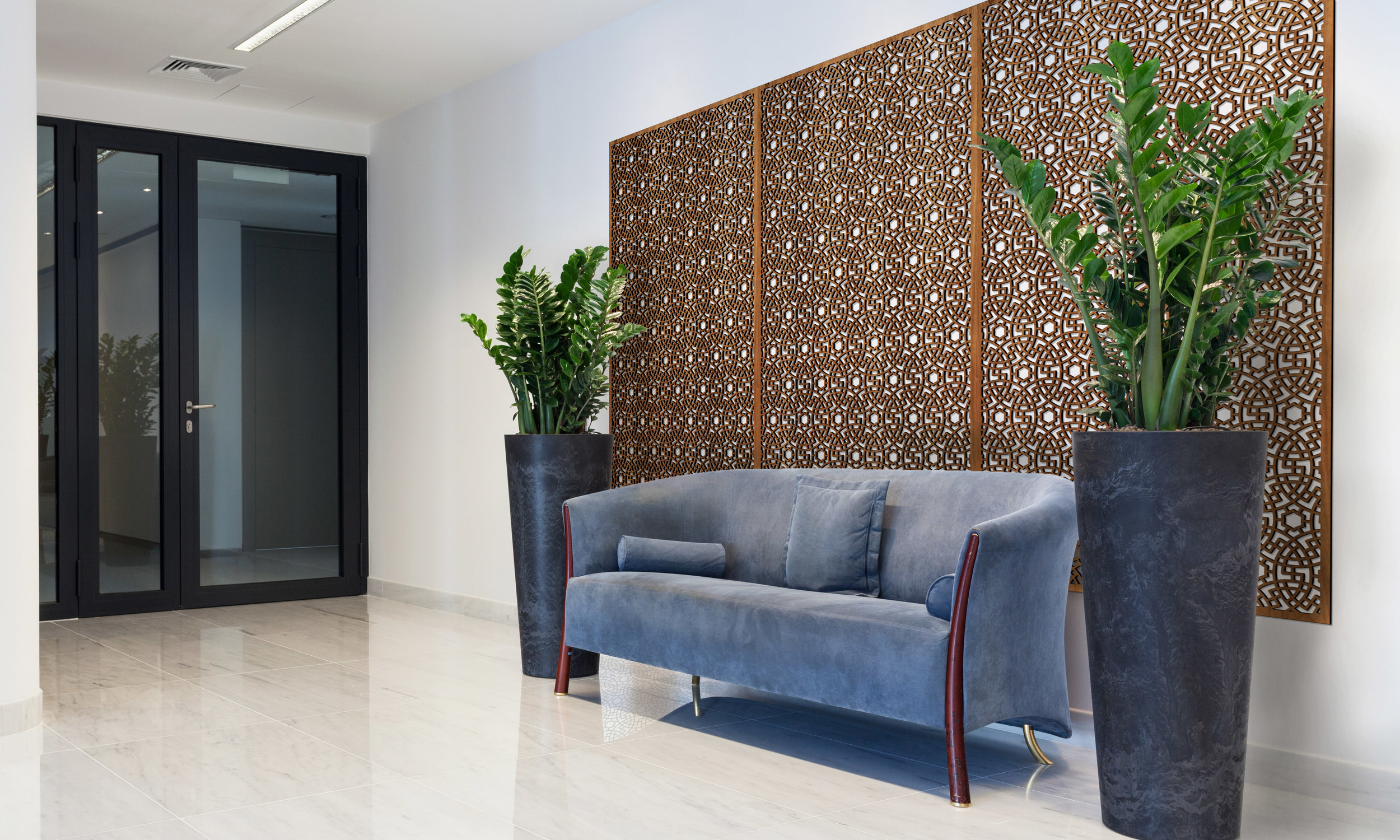 Installation Rendering A   Persian Circles decorative office wall panel - shown in Cherry