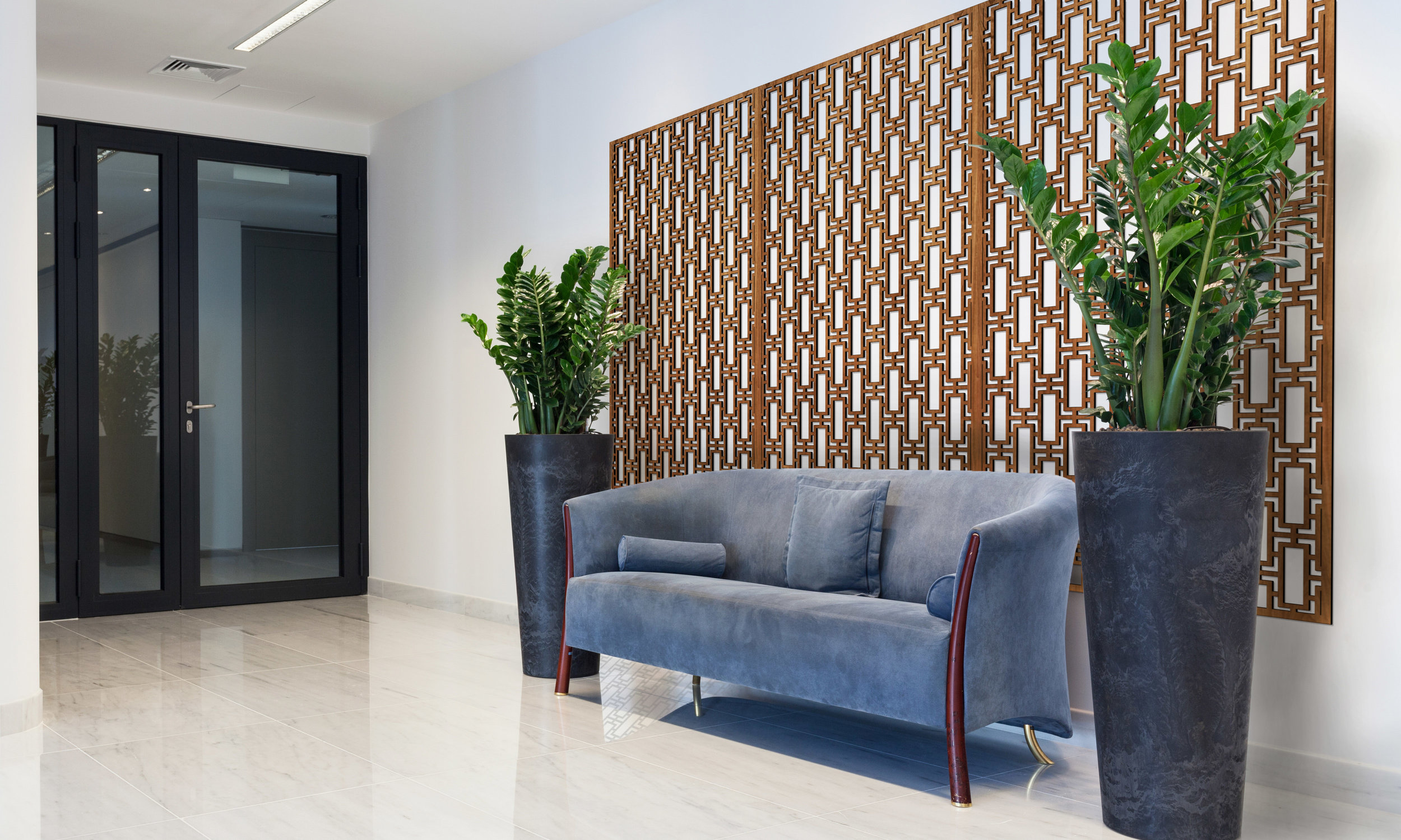 Installation Rendering A   Rectangular Lattice decorative office wall panel - shown in Cherry