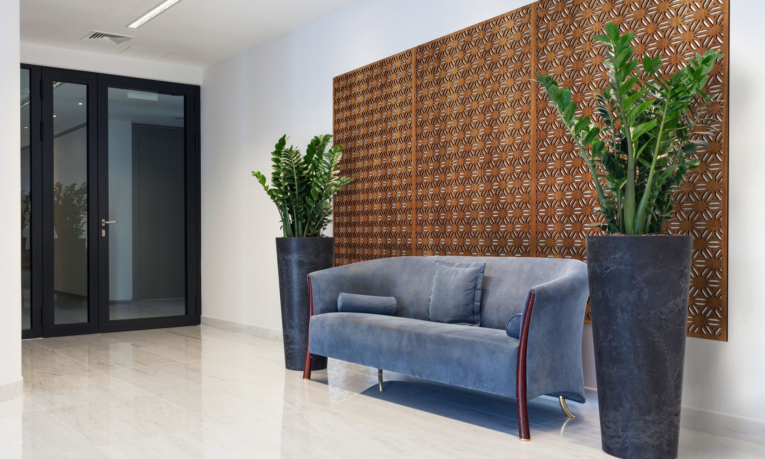 Installation Rendering A   Reverse Flower Thick decorative office wall panel - shown in Cherry