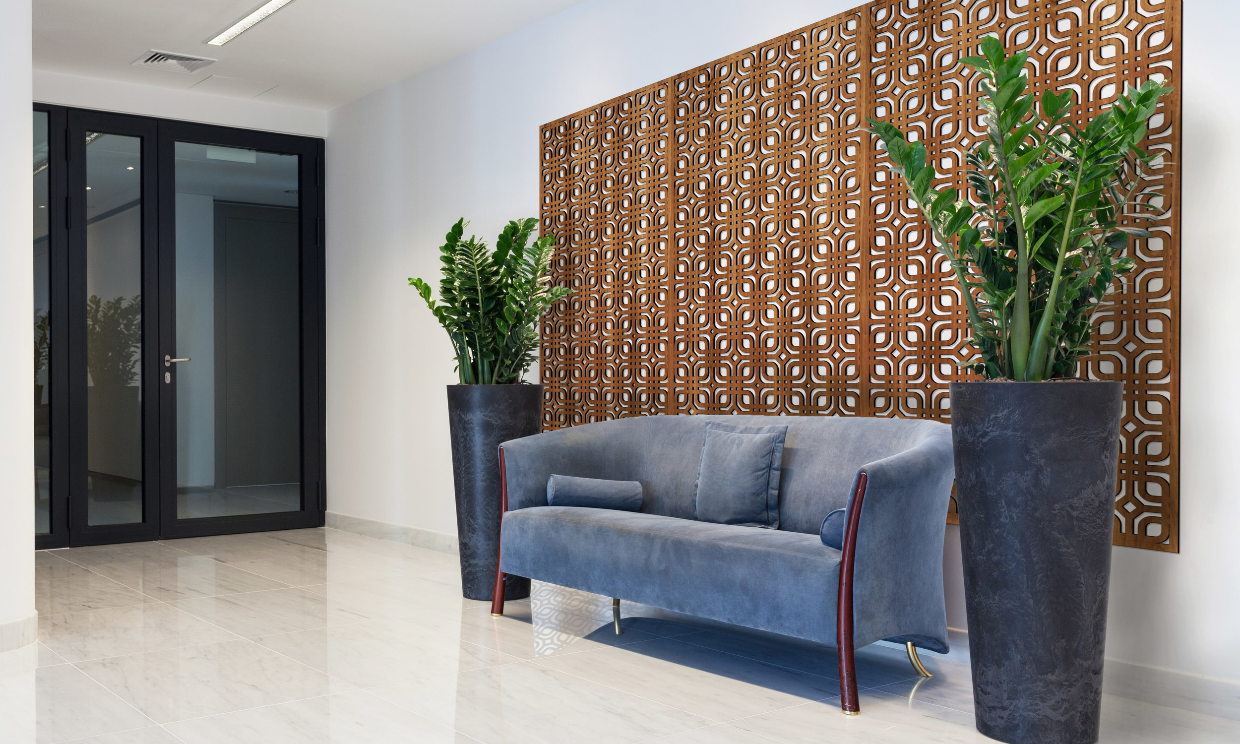 Installation Rendering A   Rounded Squares decorative office wall panel - shown in Cherry