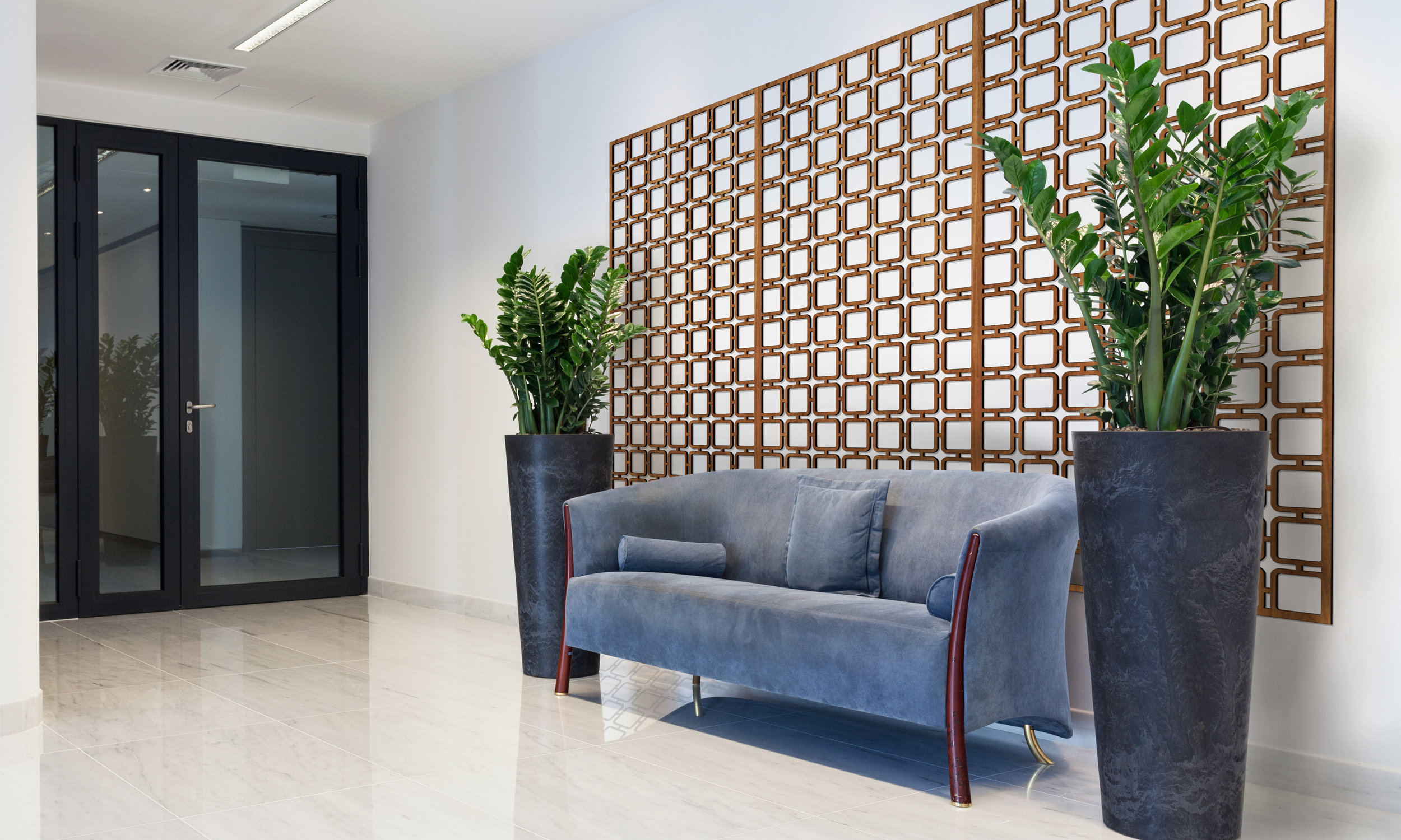 Installation Rendering A   Square Mezzo decorative office wall panel - shown in Cherry