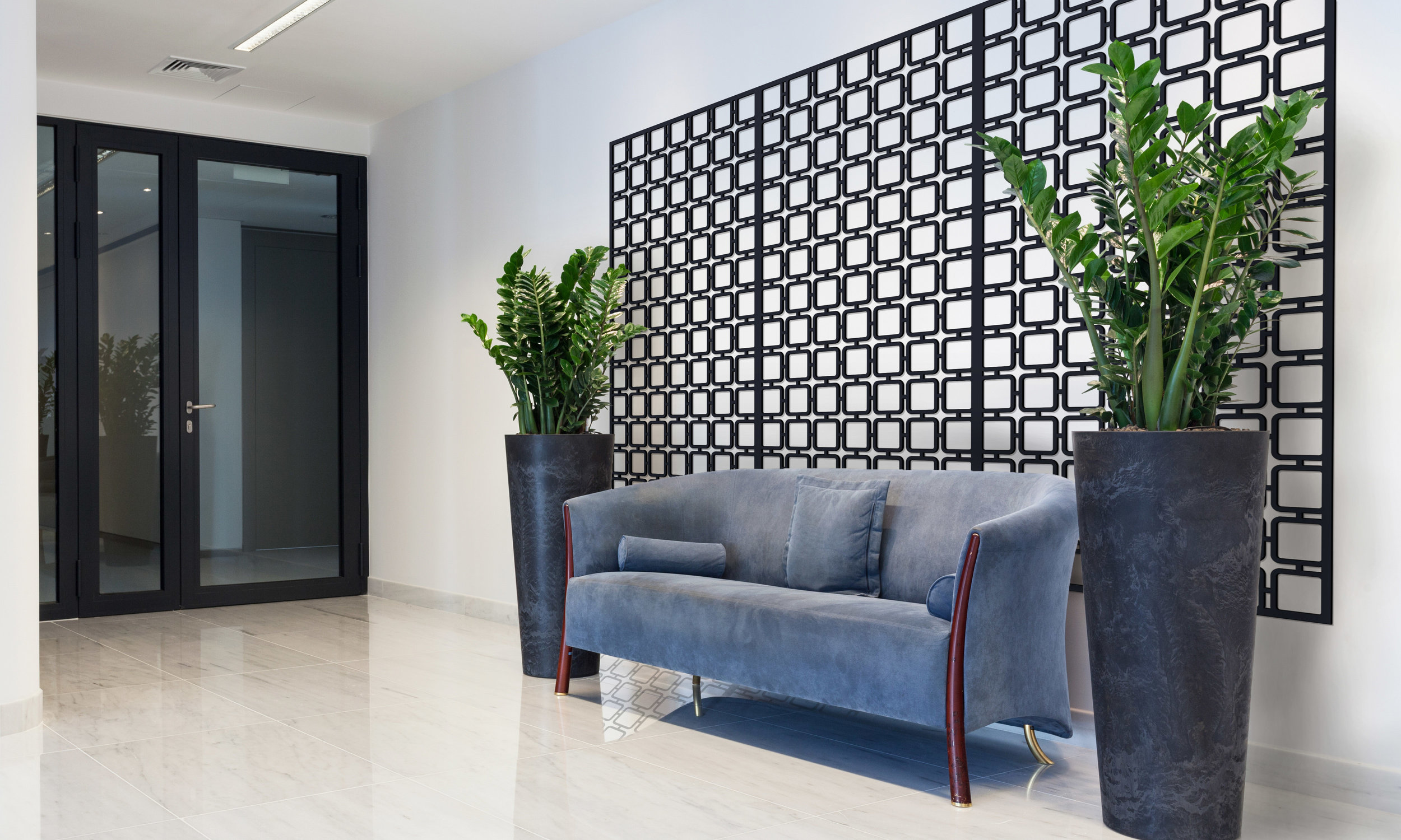 Installation Rendering B   Square Mezzo decorative office wall panel - painted