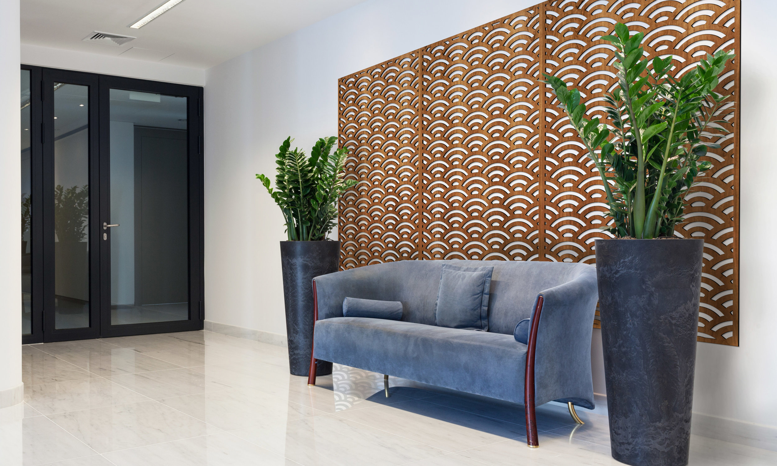 Installation Rendering A   Sunrise decorative office wall panel - shown in Cherry
