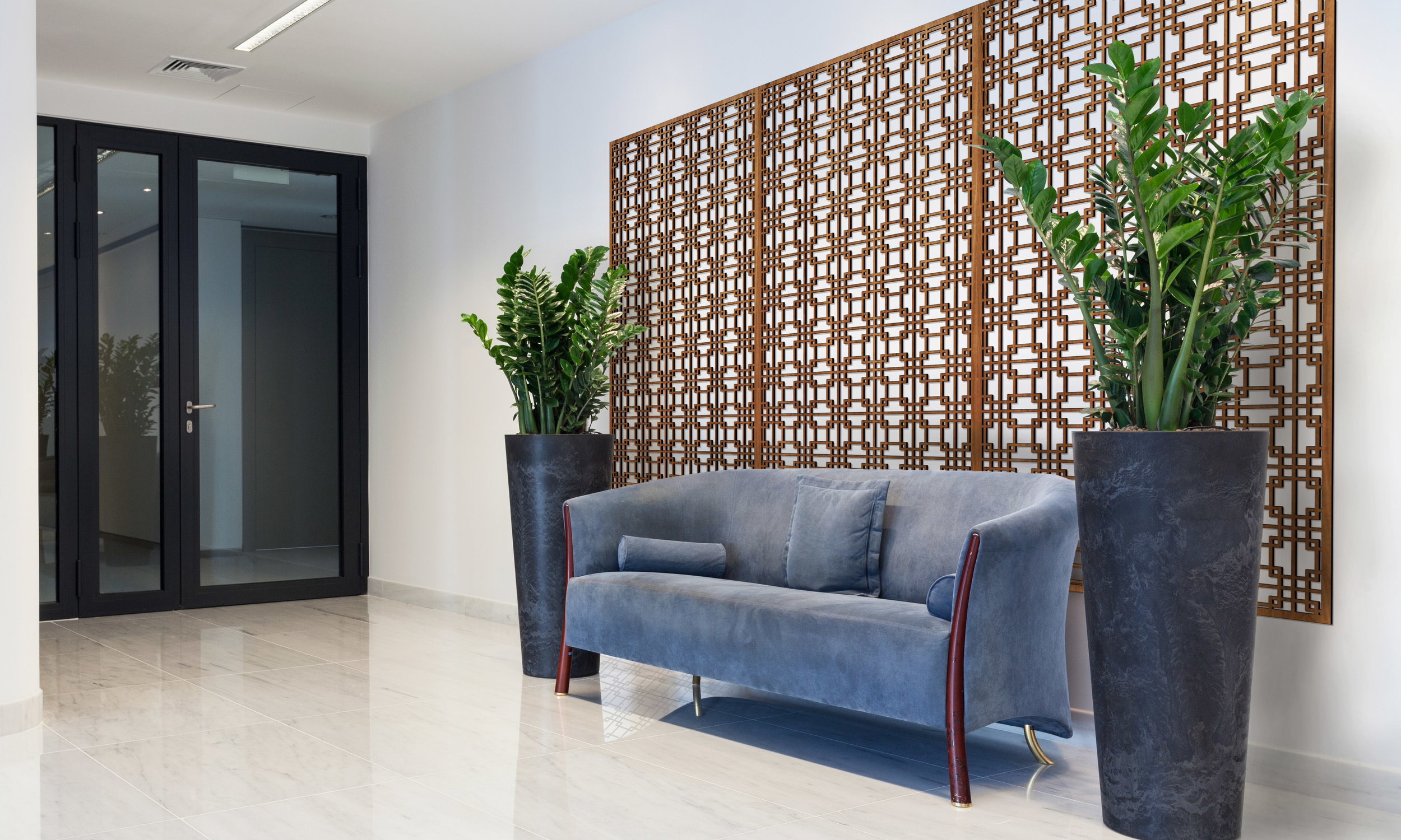 Installation Rendering A   Tokyo Grille decorative office wall panel - shown in Cherry