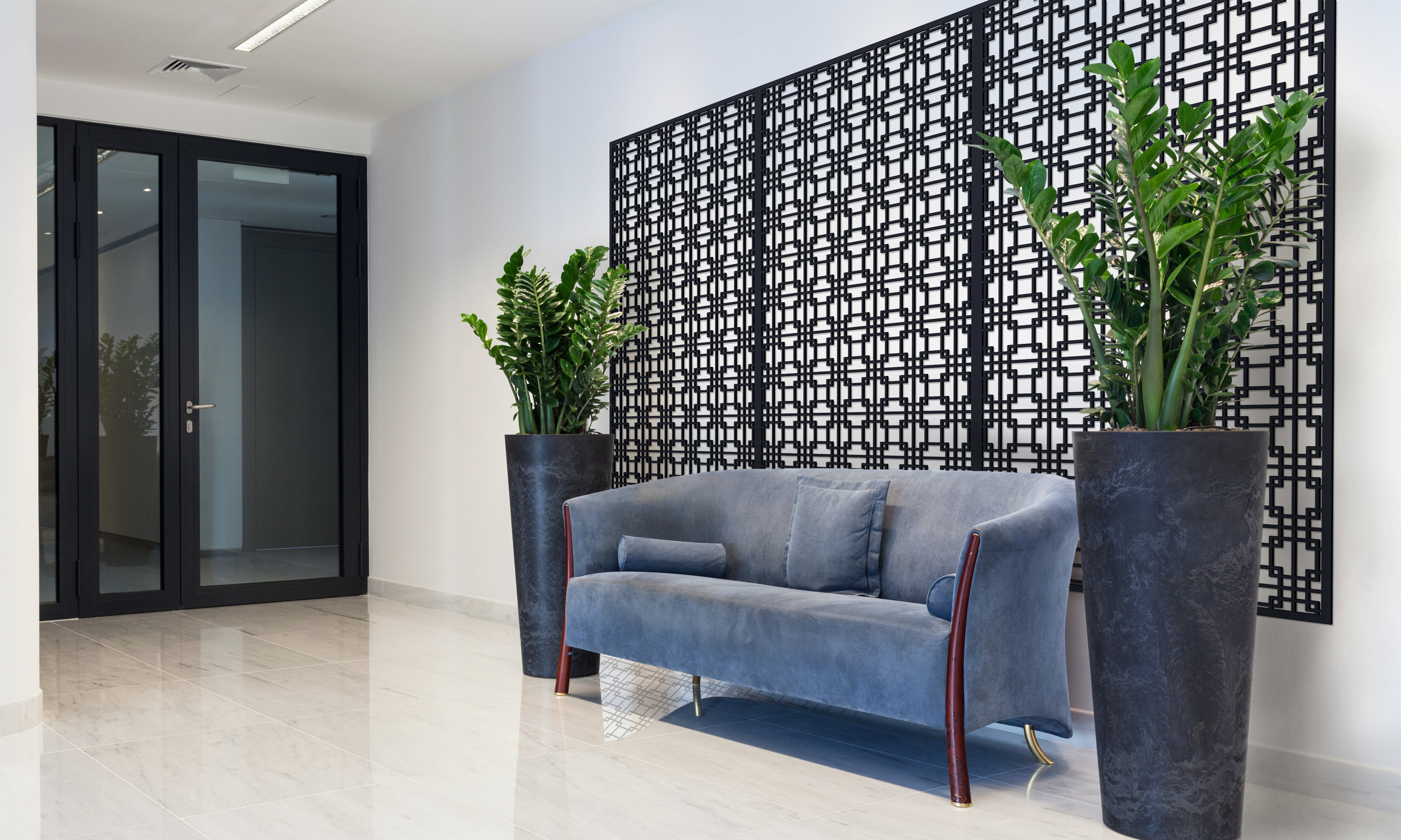 Installation Rendering B   Tokyo Grille decorative office wall panel - painted