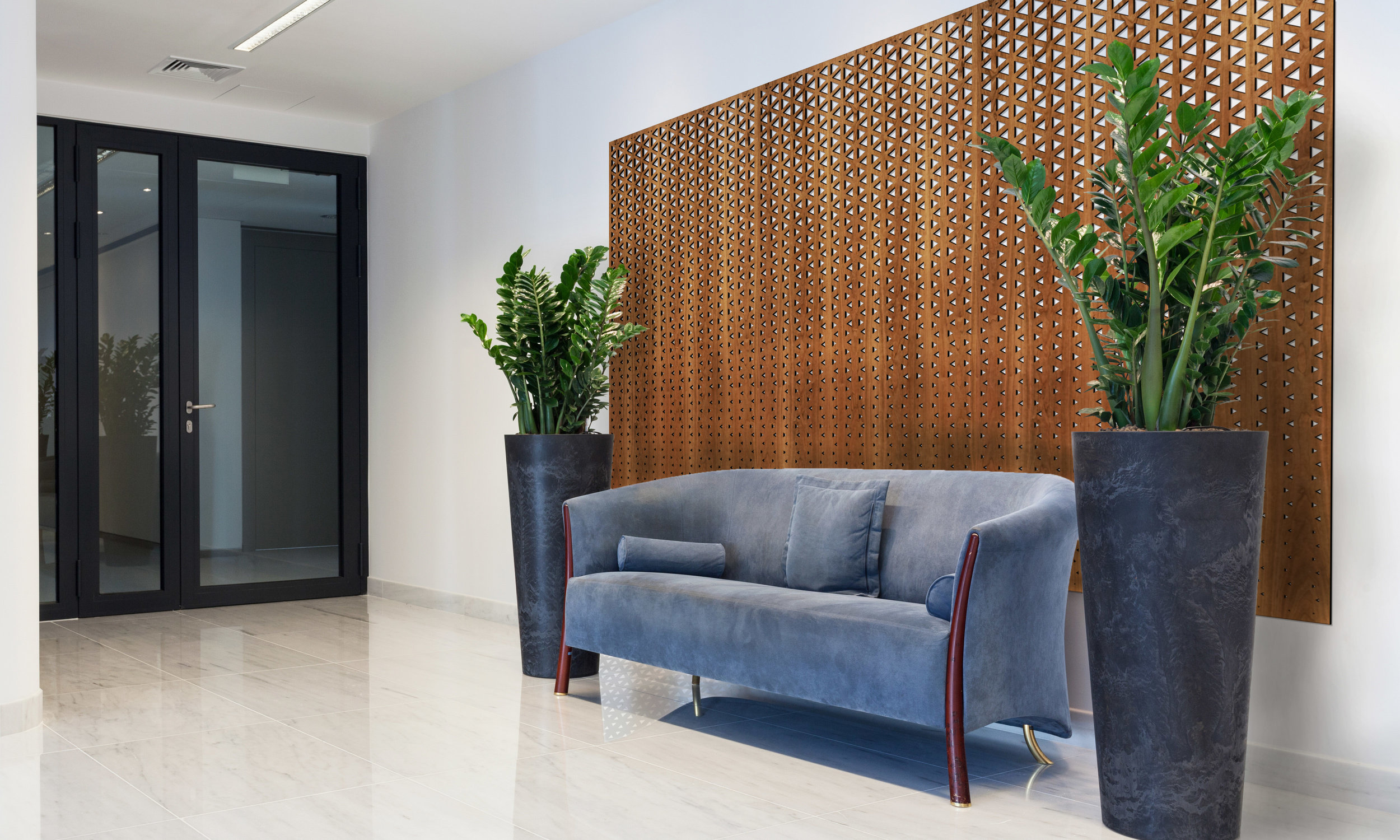 Installation Rendering A   Triangle Fade decorative office wall panel - shown in cherry