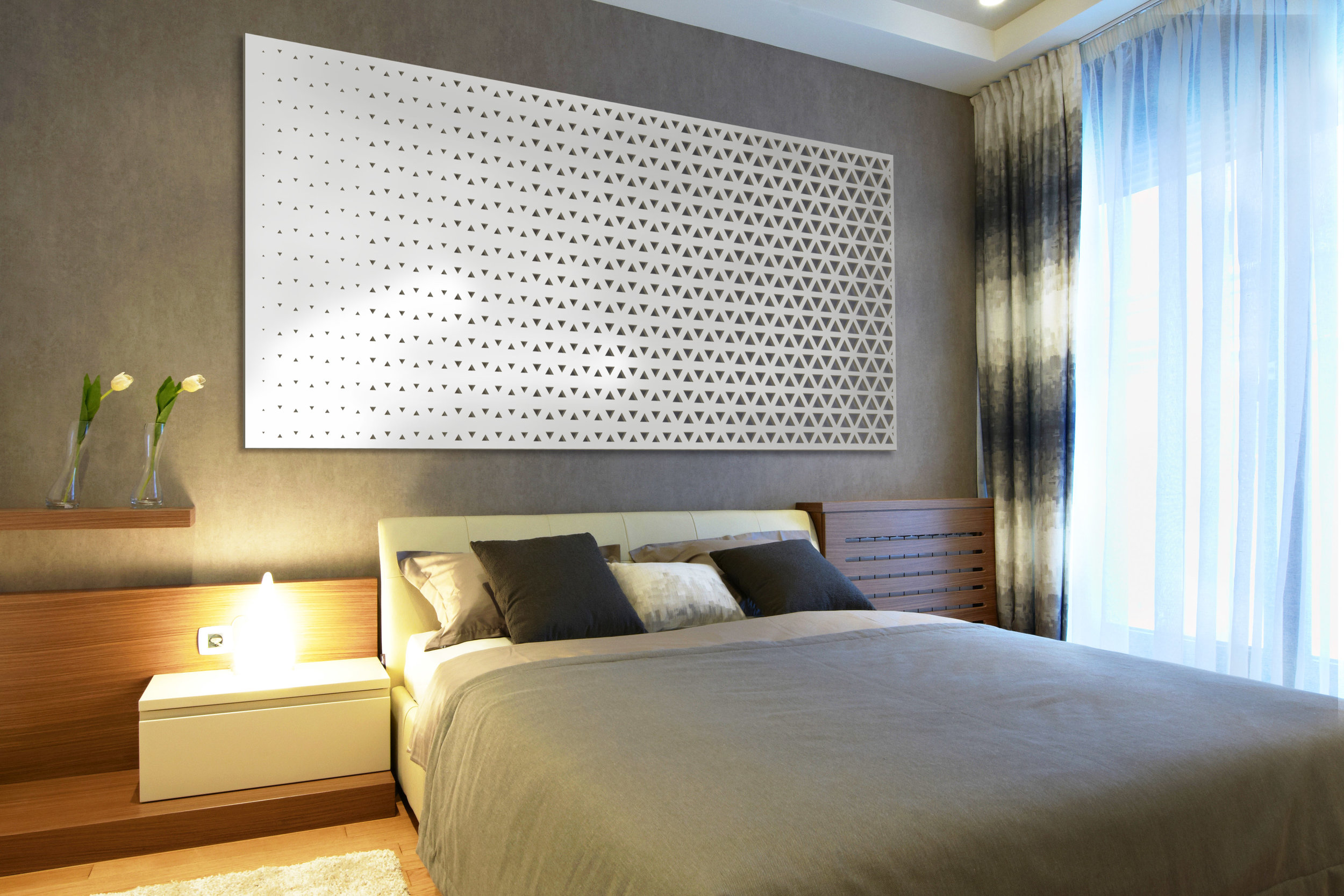 Installation Rendering C   Triangle Fade decorative hotel wall panel - painted