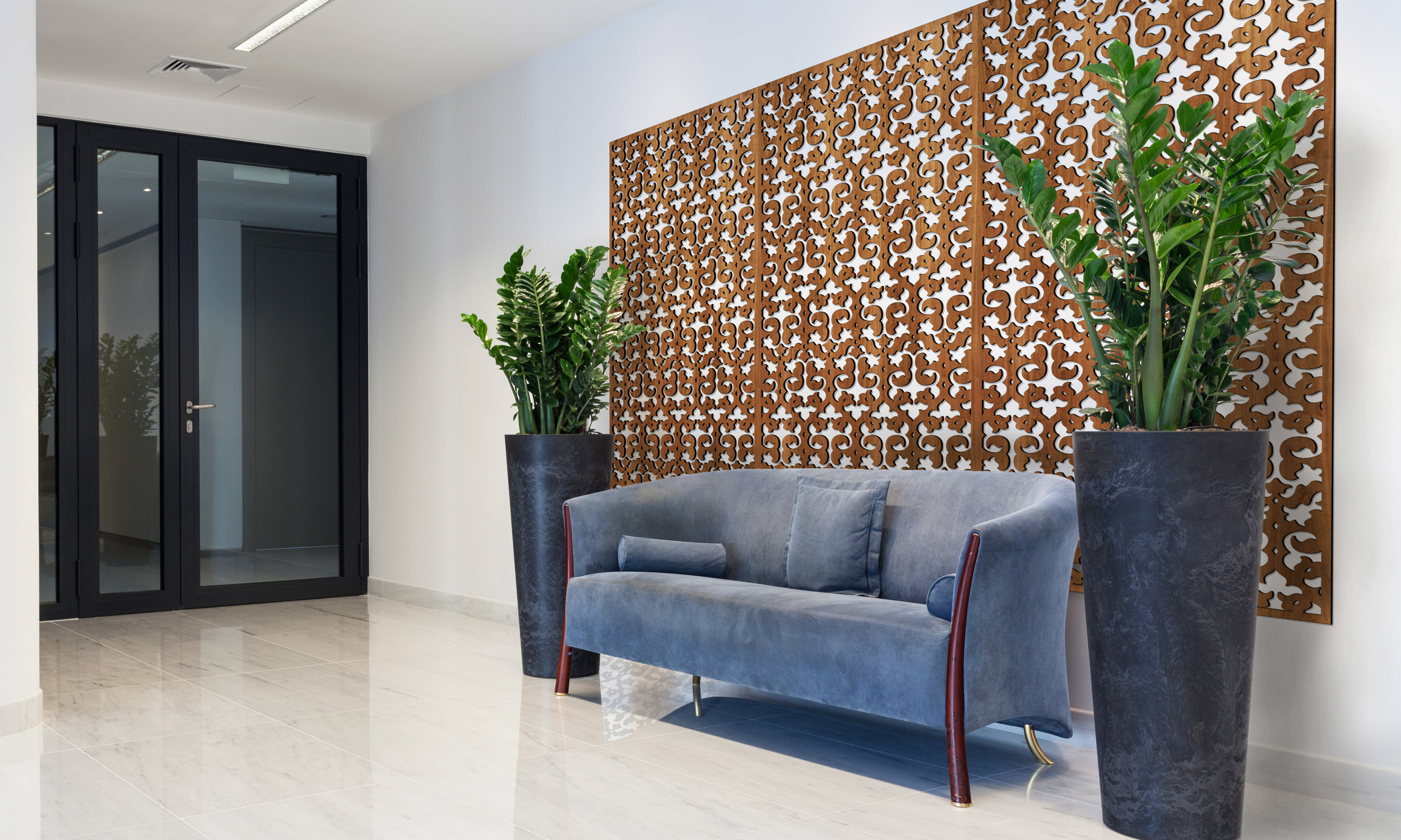 Installation Rendering A   Wallpaper decorative office wall panel - shown in cherry