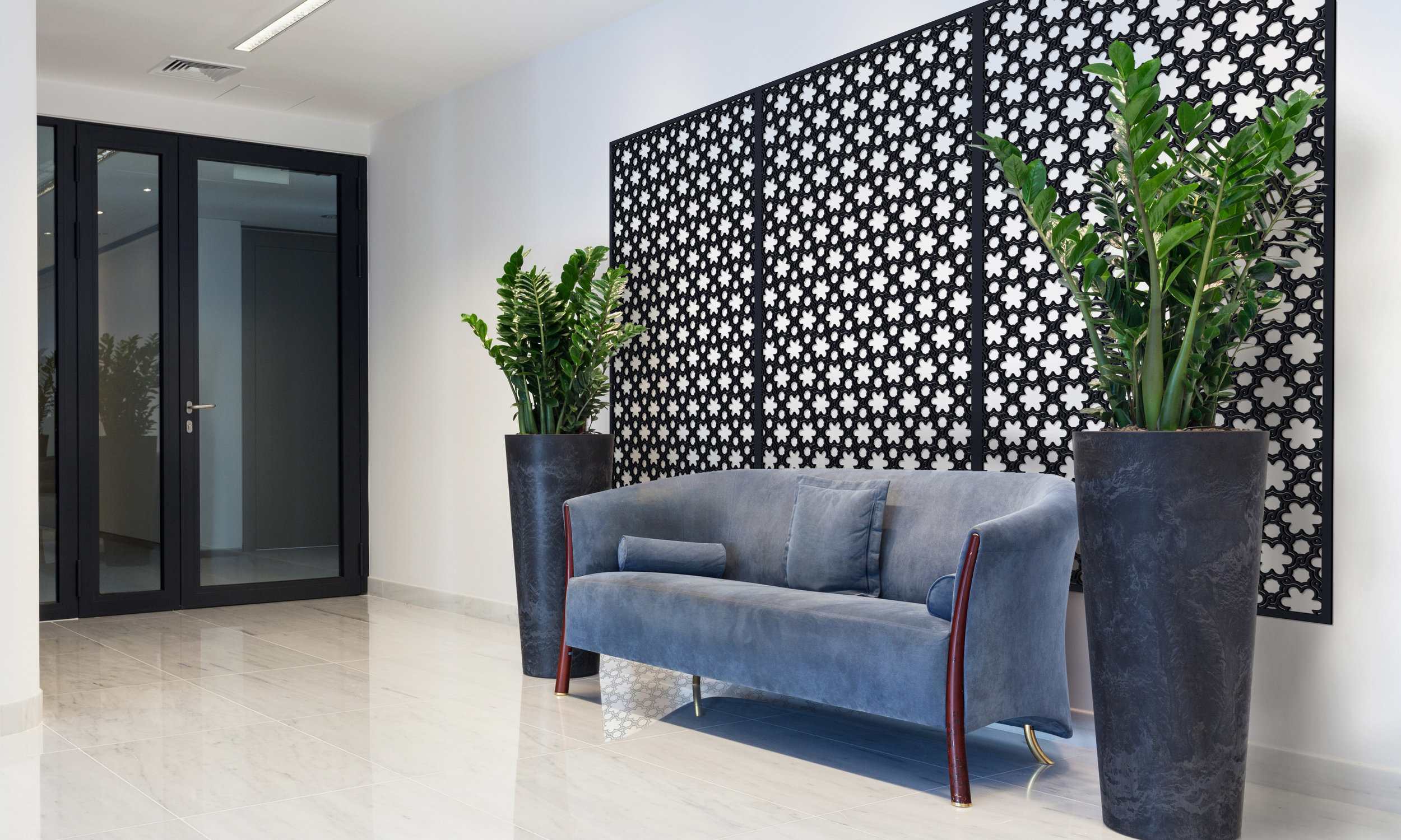 Installation Rendering B   Woven Flowers decorative office wall panel - painted