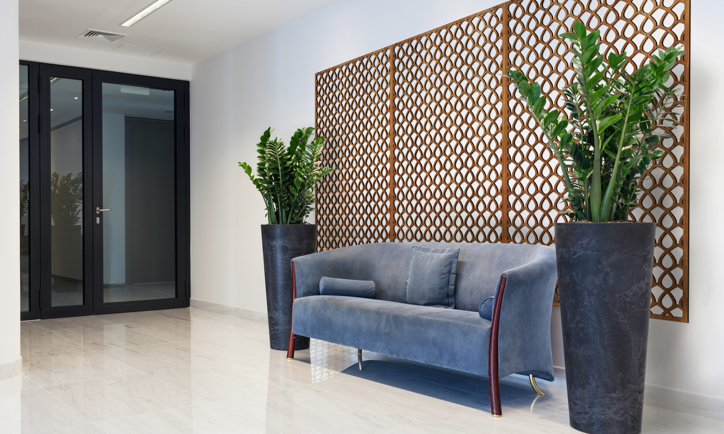 Installation Rendering A   Woven Wire decorative office wall panel - shown in cherry