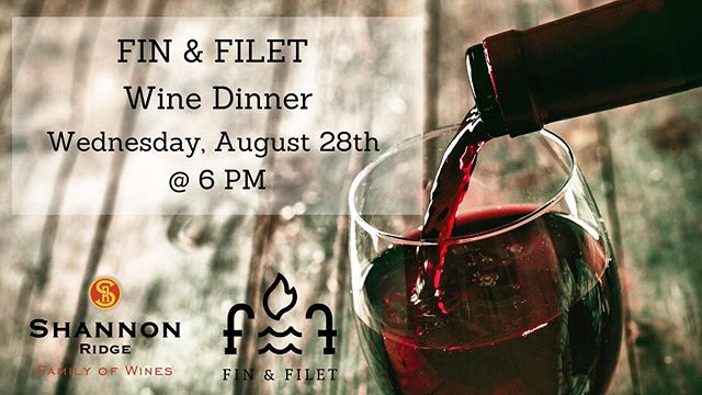 On Wednesday, August 28th at 6 PM, come enjoy an evening with us and @shannonridgewines. Enjoy a delicious 5-course meal, perfectly paired with these incredible wines. . . Menu: . . - Soft Shell Crab Topped with Lime Crem Salsa in a Romaine Leaf Served with Chardonnay . . - Whiskey Glazed Bone Marrow Rounds Served with Bourbon Barrel Aged Zinfandel . . - Venison Lollipops Coffee Rubbed and Chimichurri Served with Buck Shack Red Blend . . - Crab Stuffed Jumbo Shrimp Served with Sauvignon Blanc . . - Grass Fed Lamb Leg Steak with an Apple, Cumin, and Mint Reduction Served with Cabernet Sauvignon . . Price: $70 per person . . Call 775.686.6969 to reserve your table.