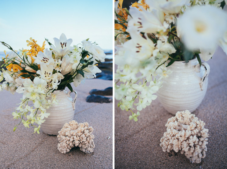 Costa Rica wedding florist with coral