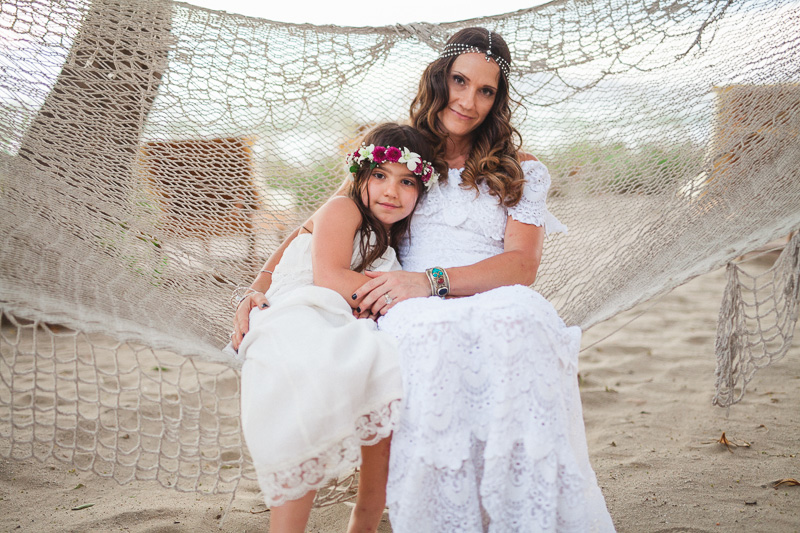 bride and daughter in hammock