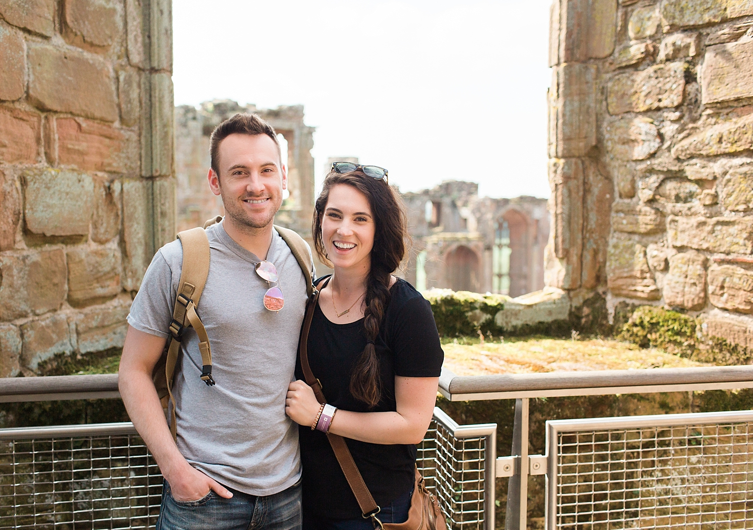 Happy tourists in a castle ❤️