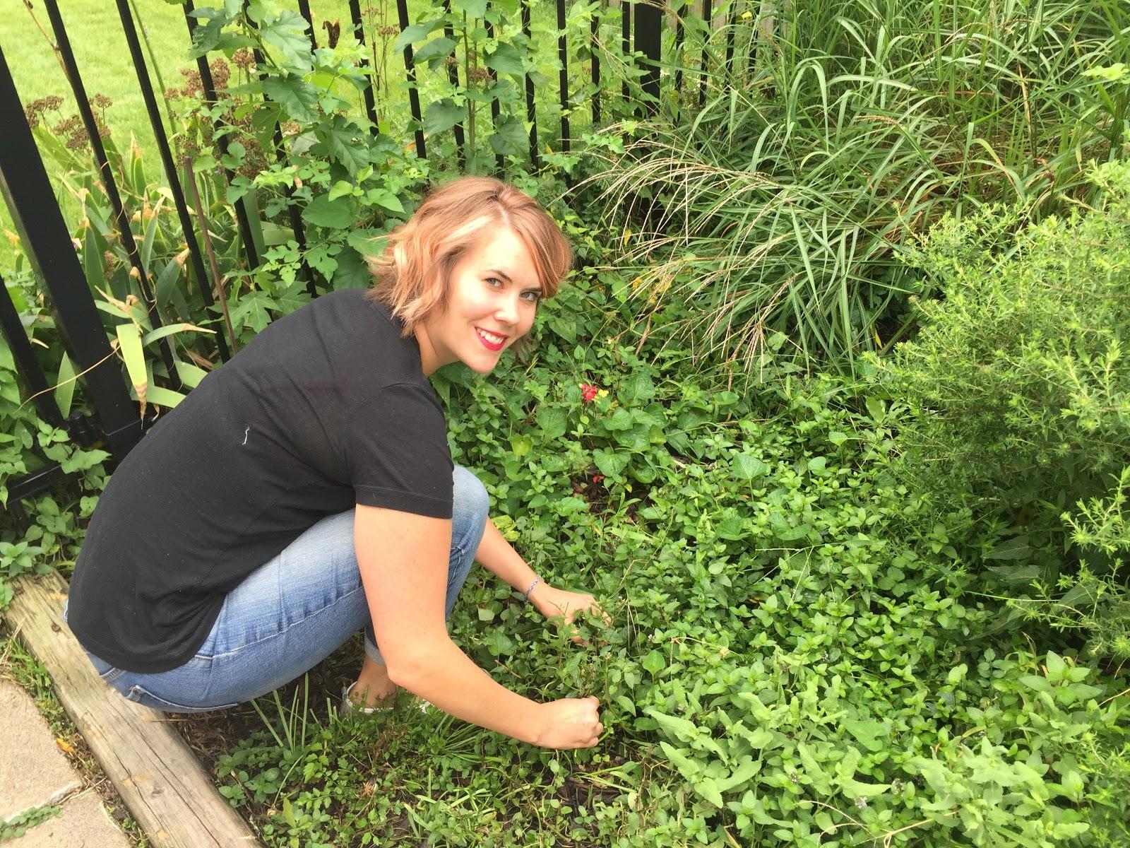 Chelsey Erpelding in her garden.