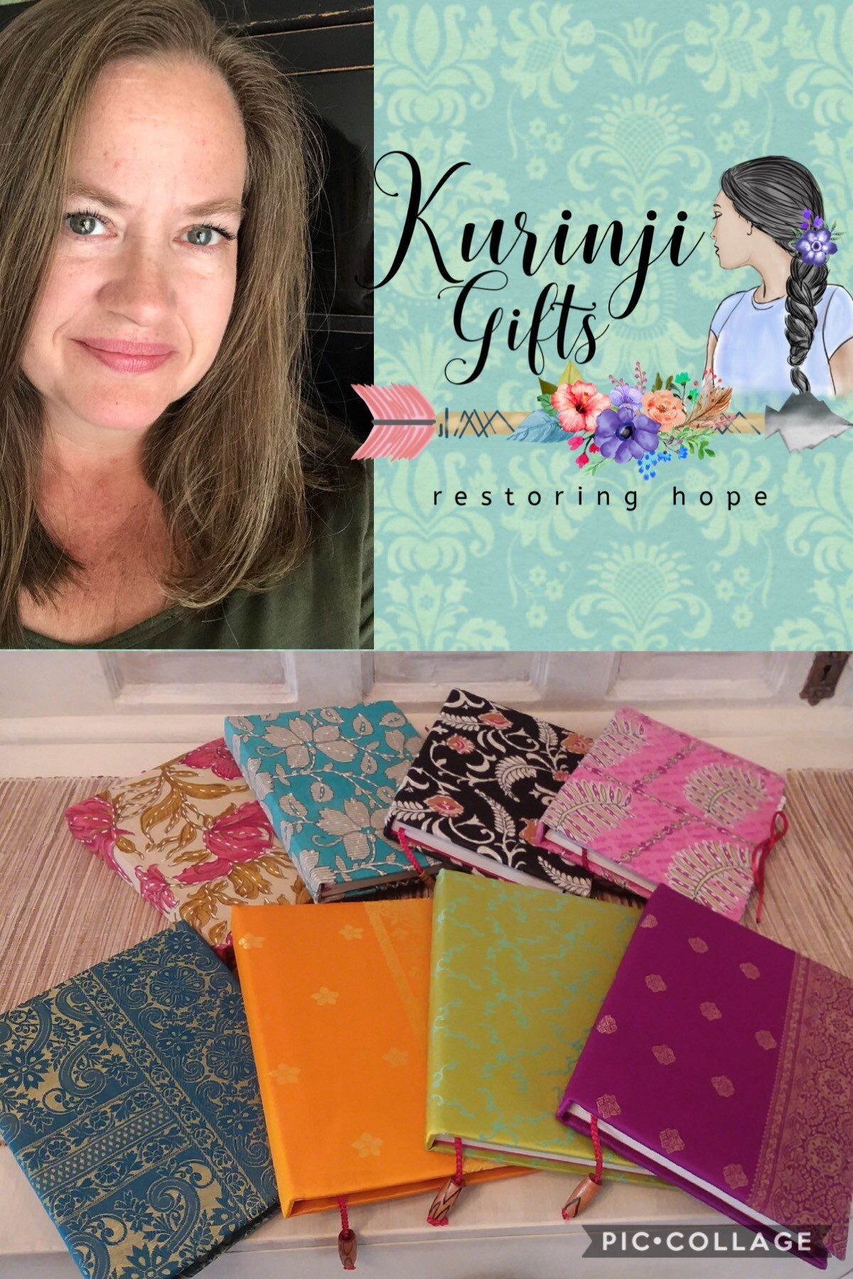 Dawn Beckler and a few of the handmade journals