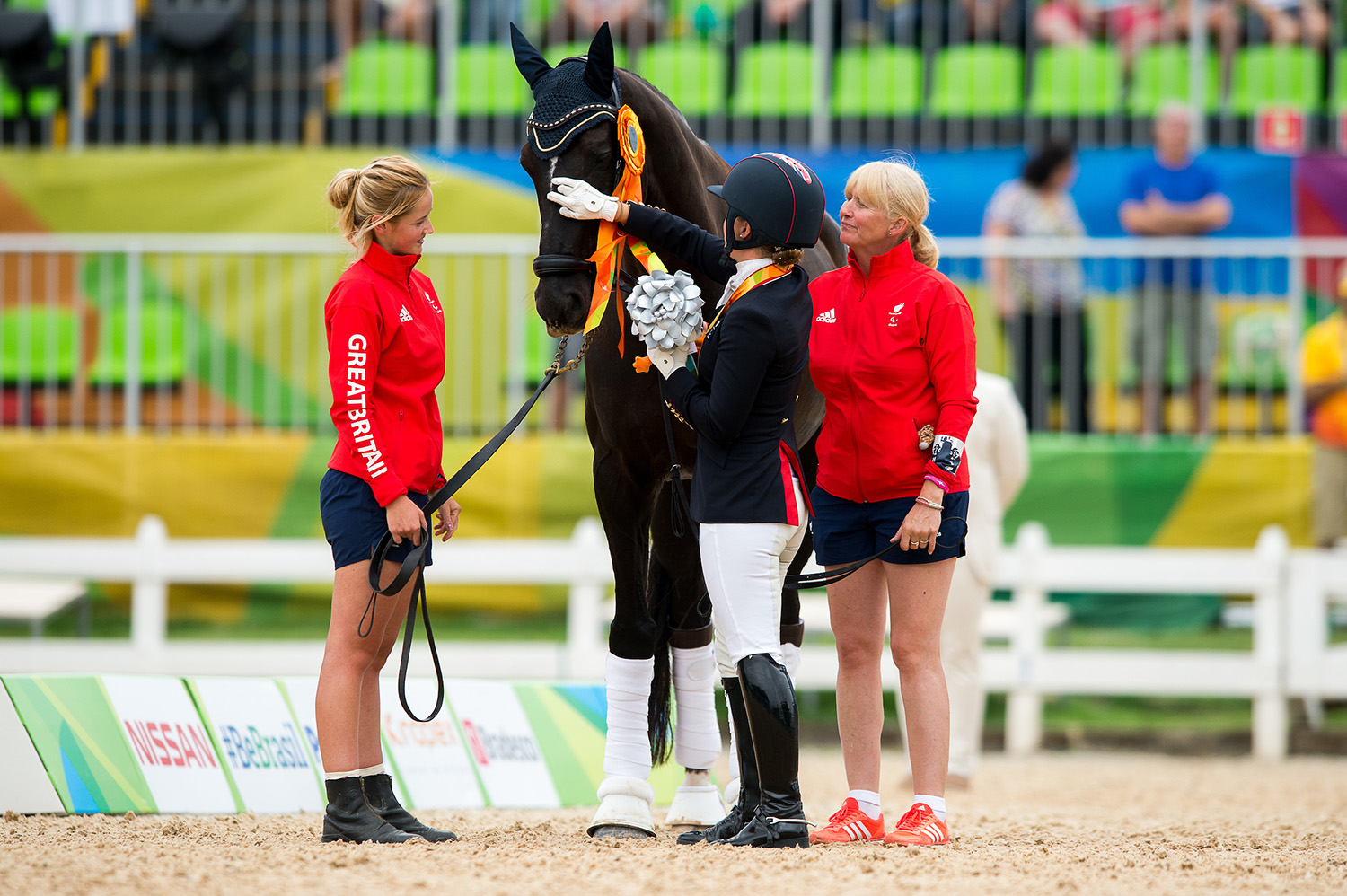 Sophie with groom Sophie and trainer Angela Weiss in Rio