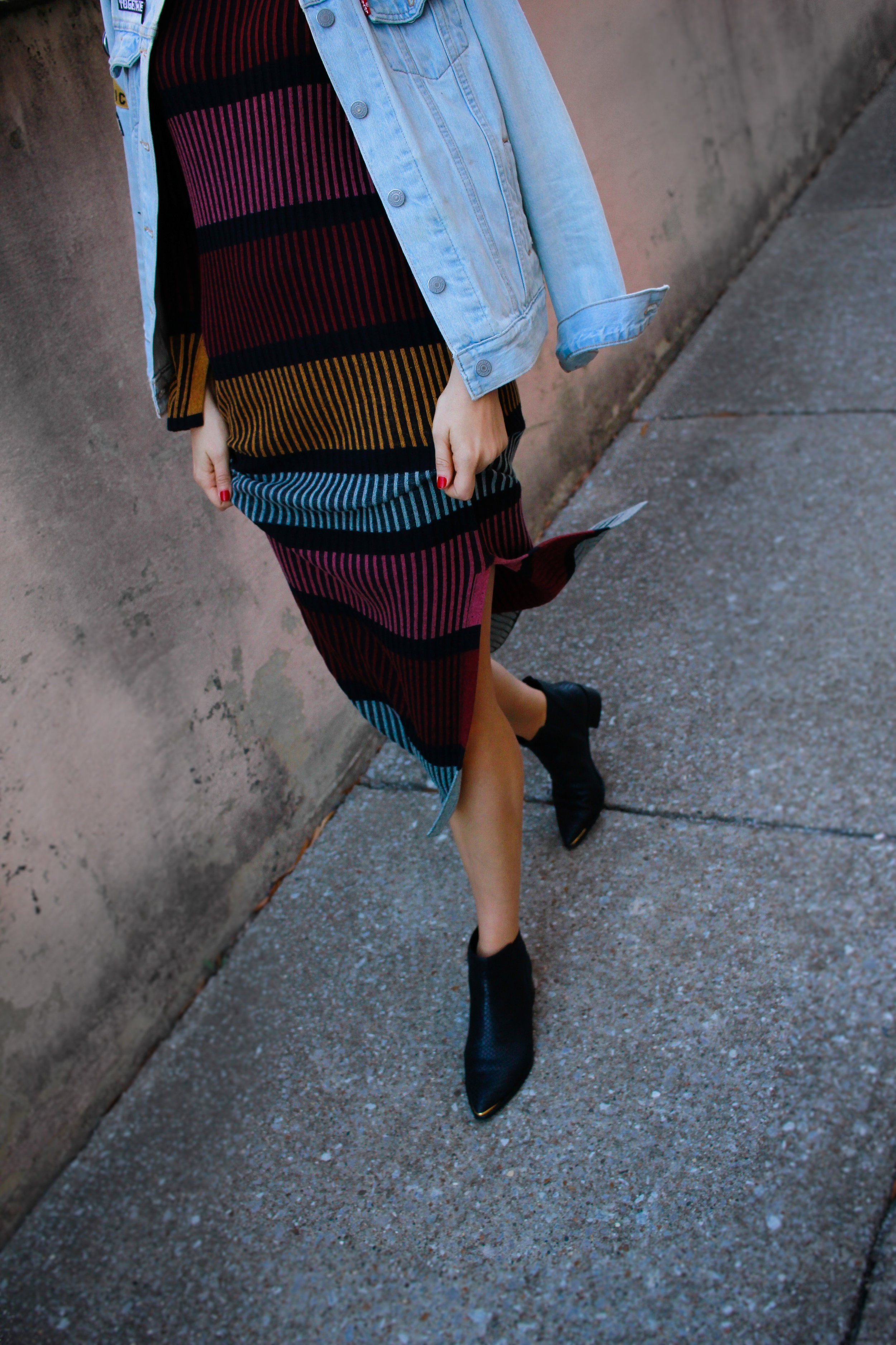 rag pepper, marc fisher chelsea boots, h&m stripe color block dress, levi's denim jacket, denim jacket with patches, nashville blogger, like to know it, street style, asos, 2020 ave, etsy enamel pins