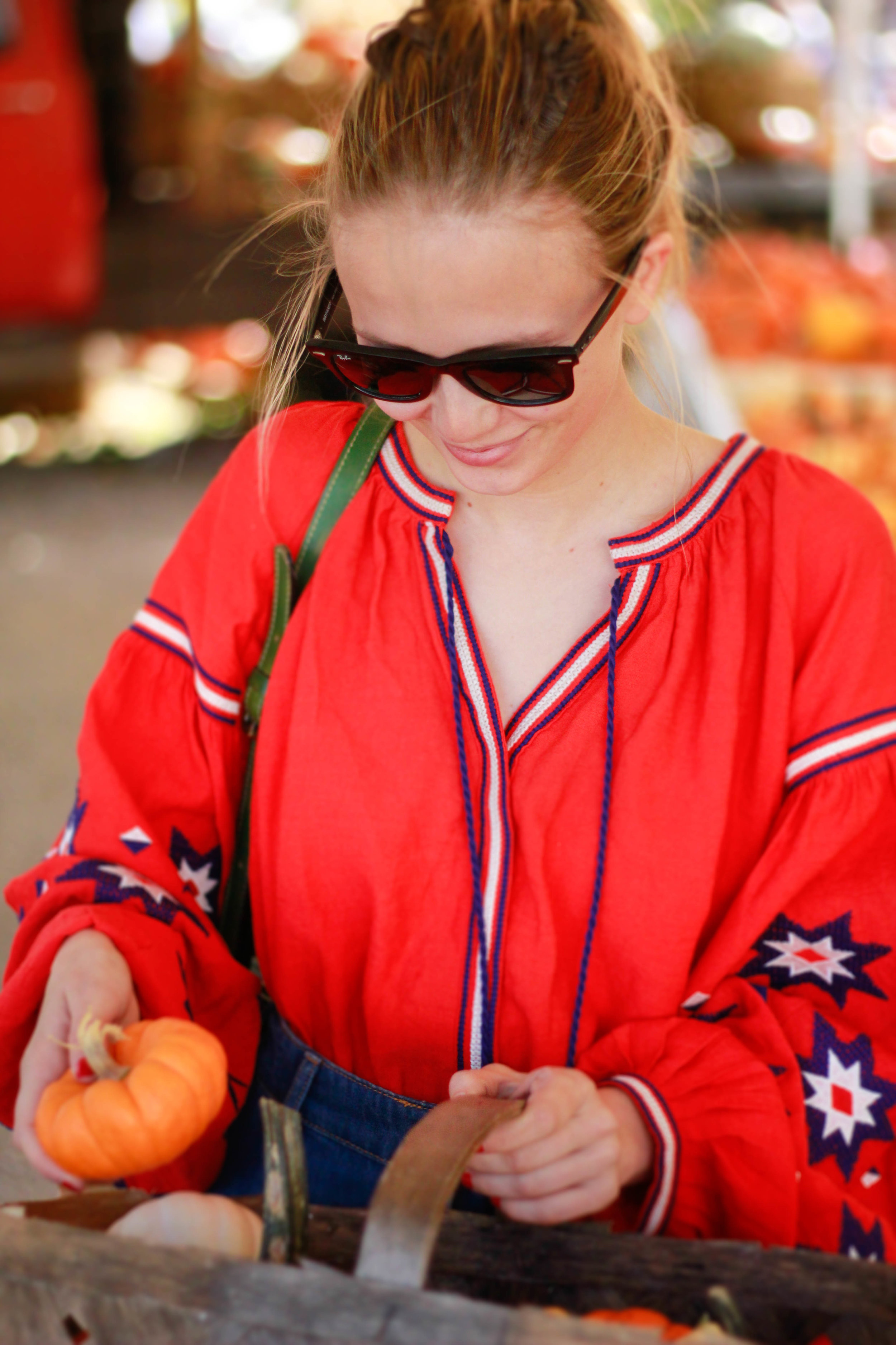 fall fashion, button up denim skirt, converse, sneakers and skirt outfits, red embroidered blouse, rag pepper, striped socks, fall transition outfits, nashville street style, like to know it bloggers