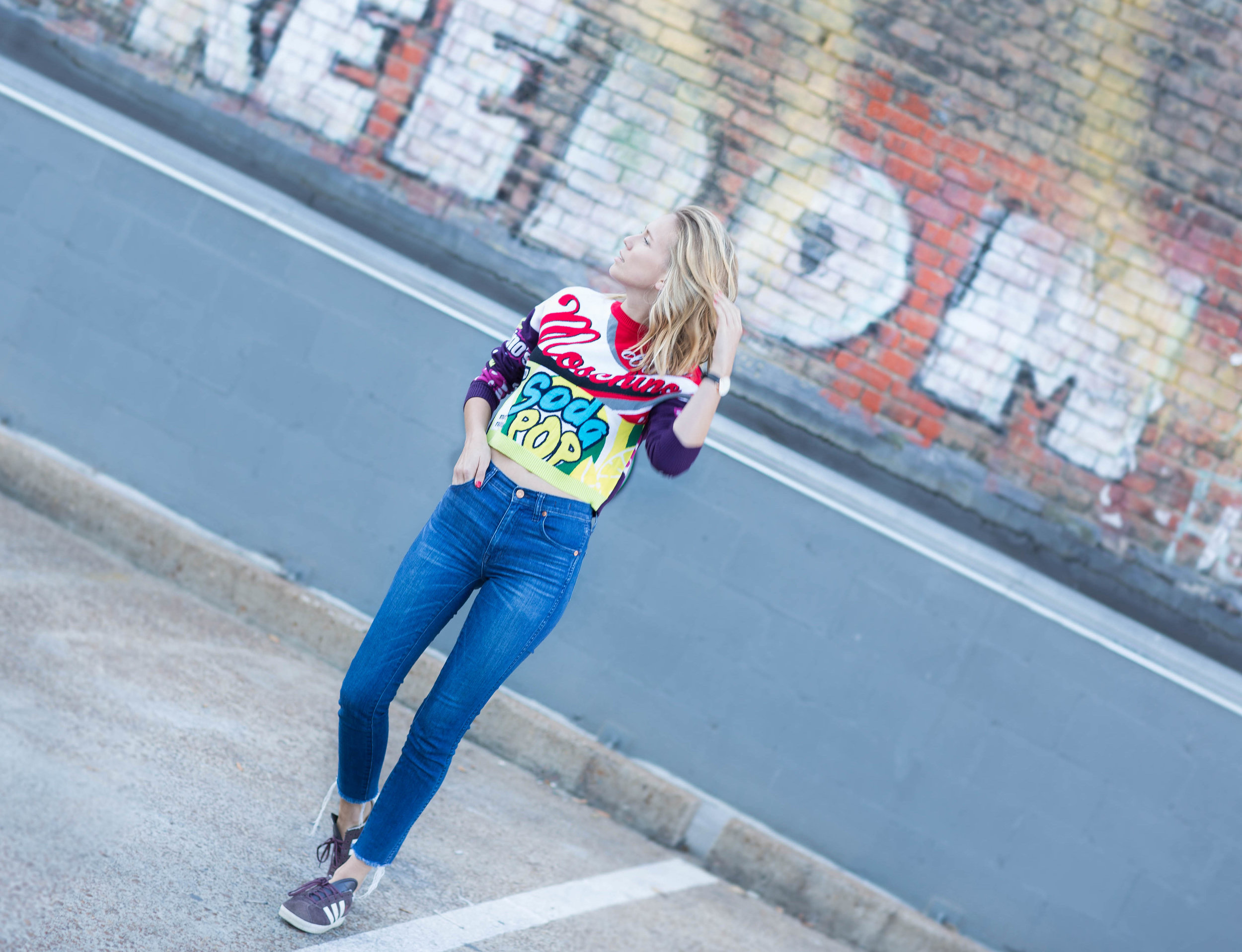 rag pepper, moschino grape soda sweater, adidas gazelle, madewell raw hem jeans, nashville bloggers, like to know it bloggers, stripe colorful sweaters, the real real, j crew, gap