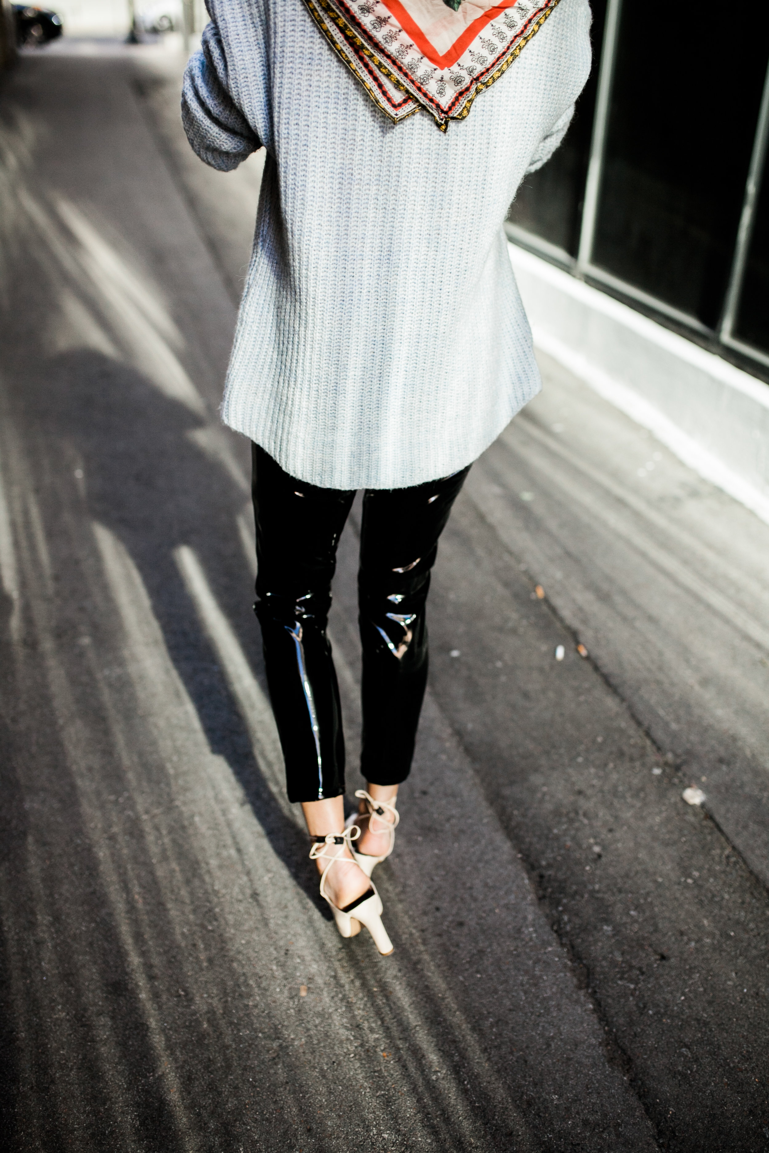 black-vinyl-pants-chanel-mules-blue-zara-sweater.jpg