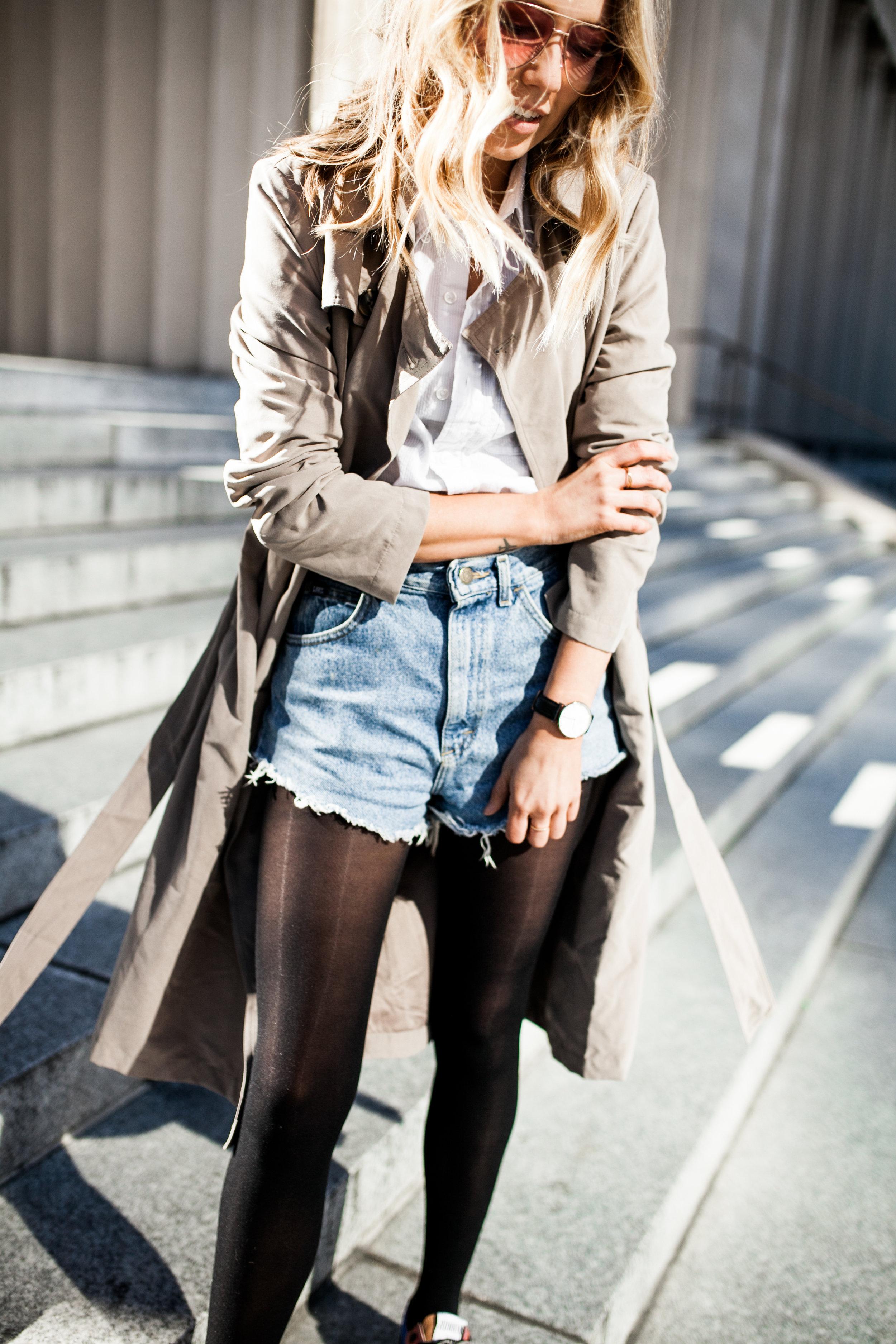 fashion blogger nashville style rose tinted sunglasses trnech coat cut off levis golden goose statement sneakers.jpg