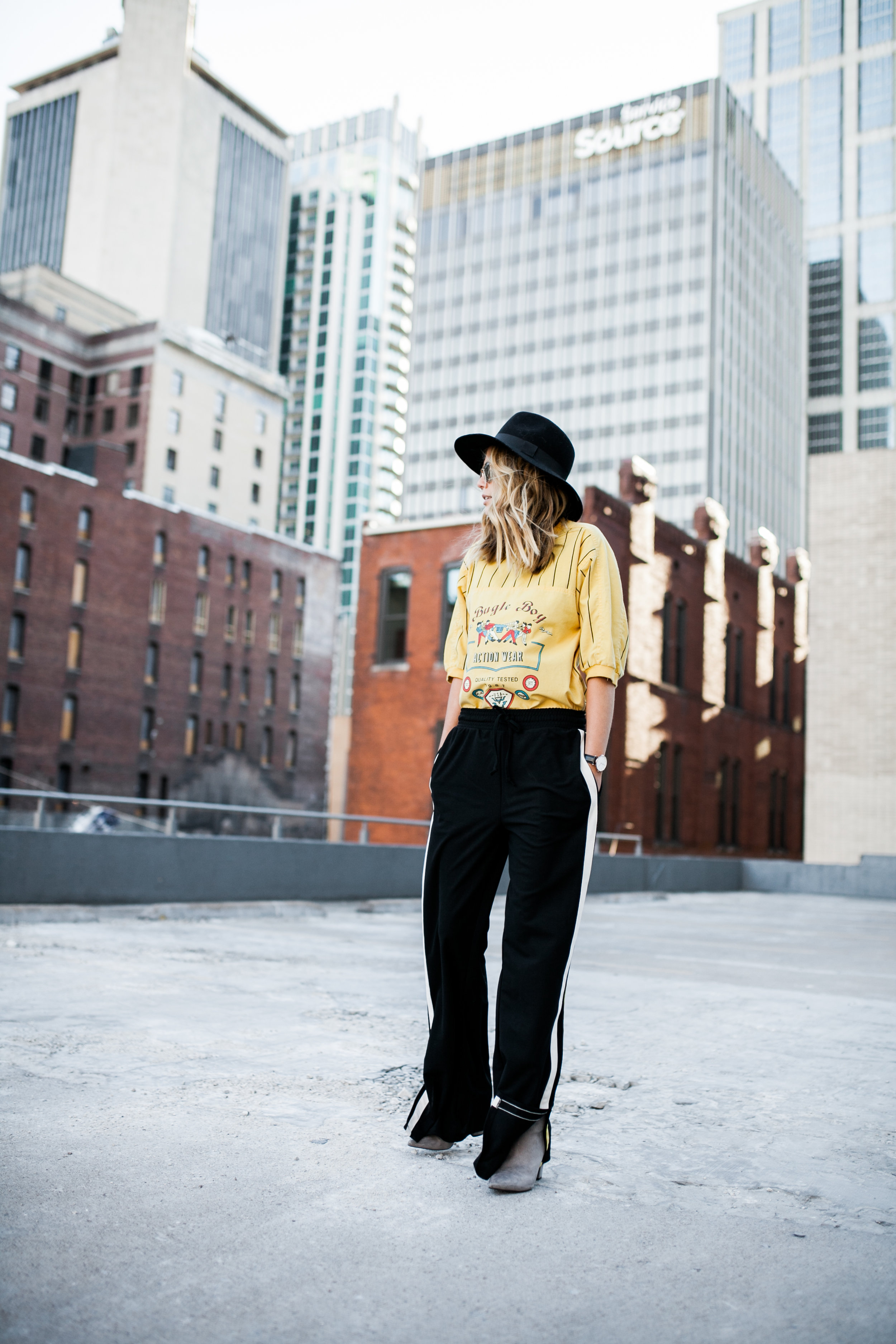 wide brim black hat vintage yellow baseball tee striped who what wear track pant grey suede ankle boots.jpg