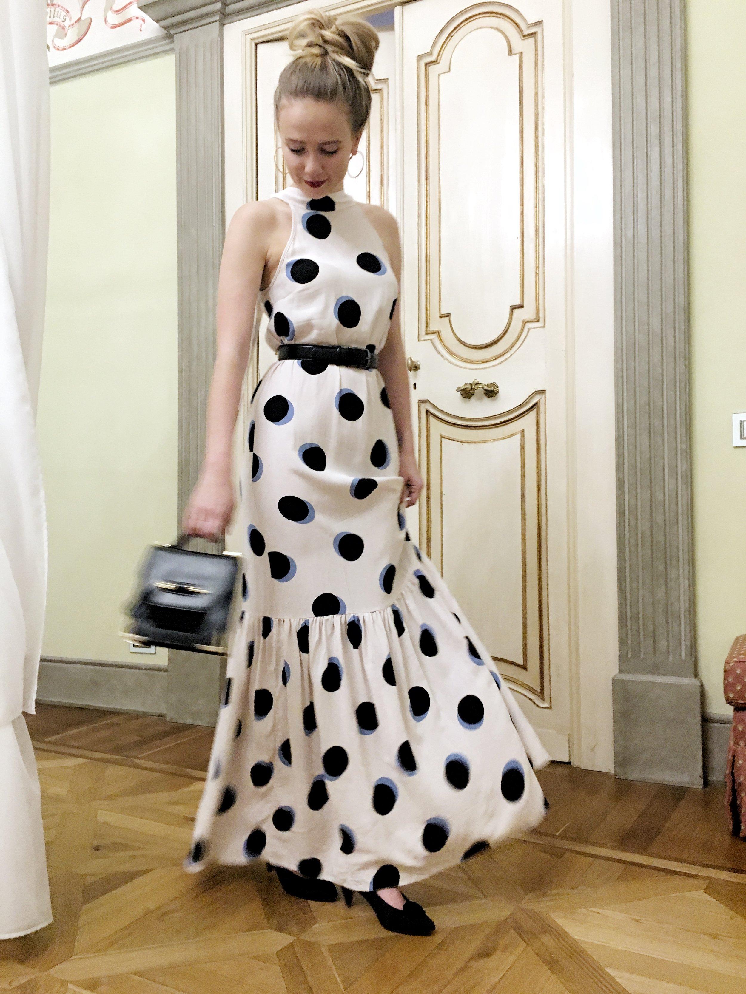 ASOS dot maxi dress, House of Mackage bag, vintage heels