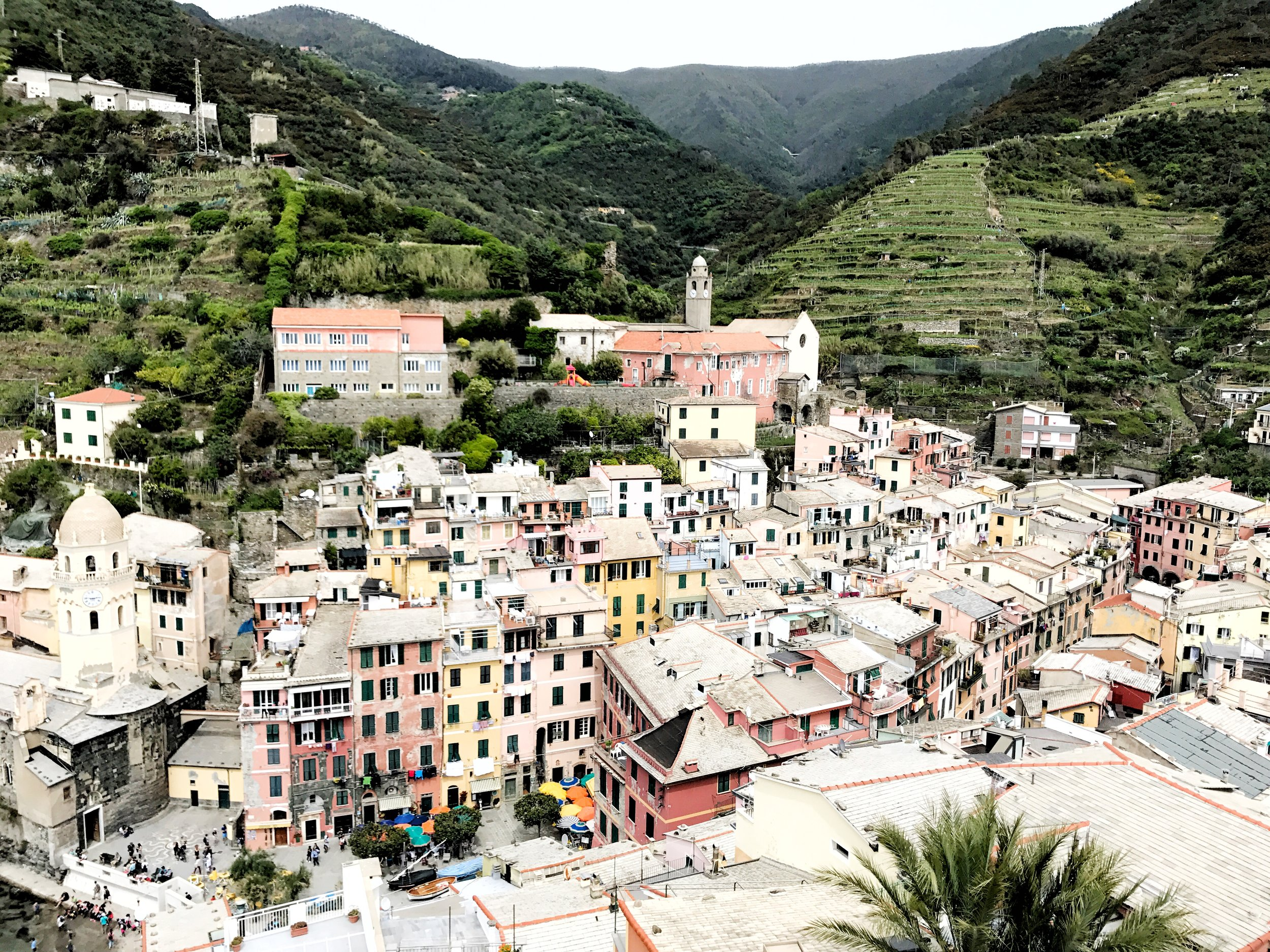 Panoramic views of Vernazza, one of the five villages of Cinque Terre in Italy