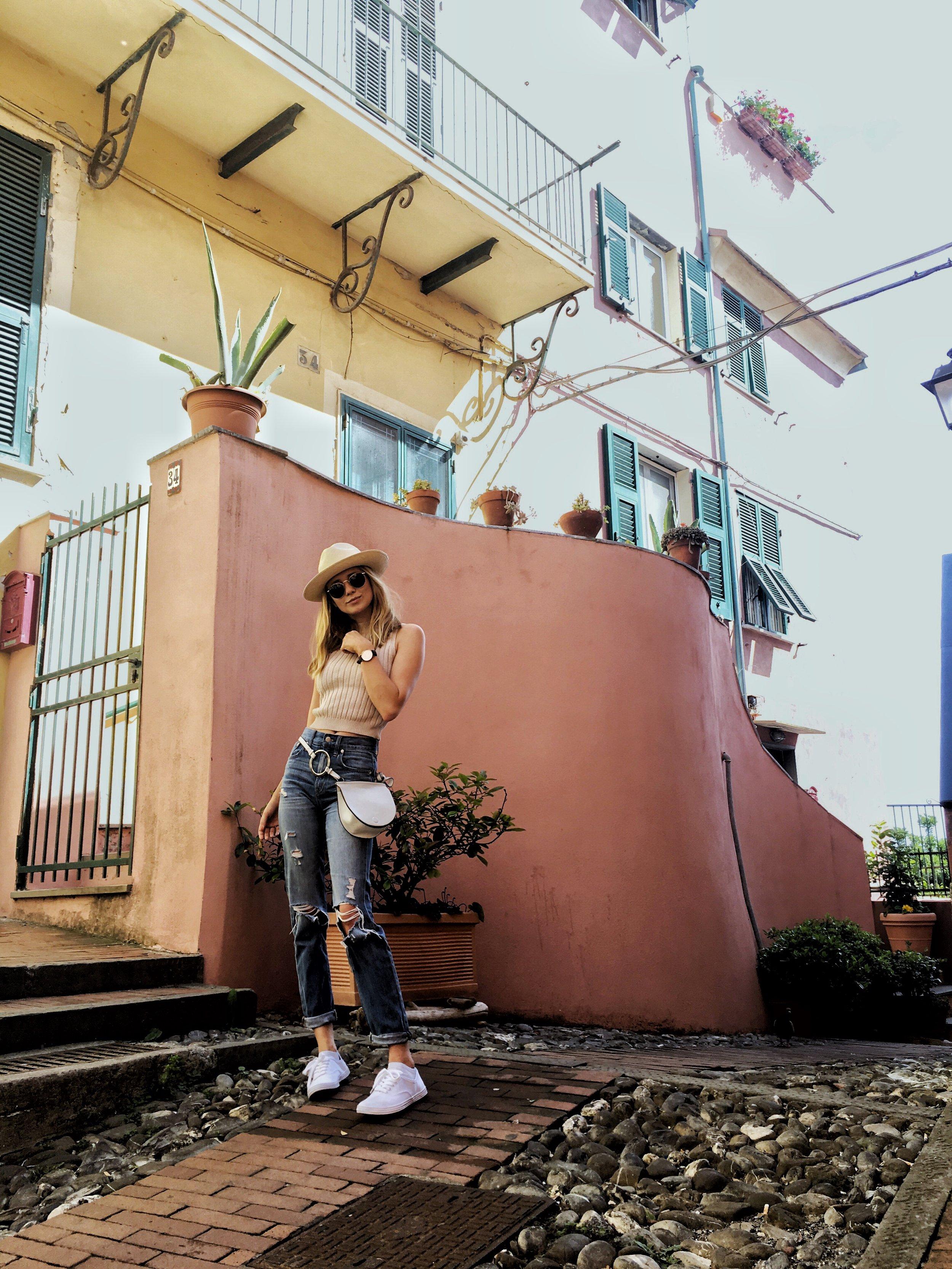 Alleys of Boccadasse, a neighborhood in Genova, Italy