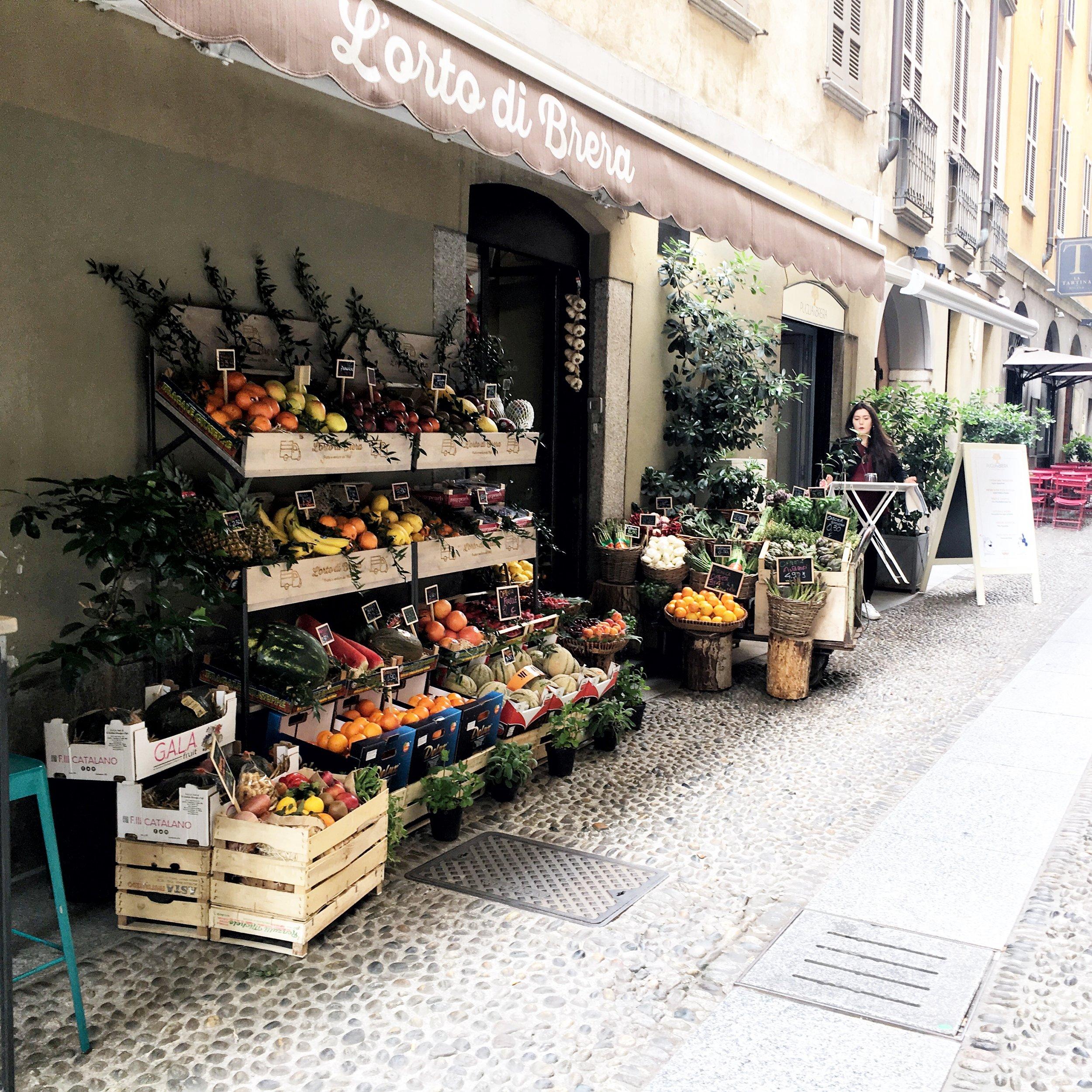 Fruit market in Milan, Italy
