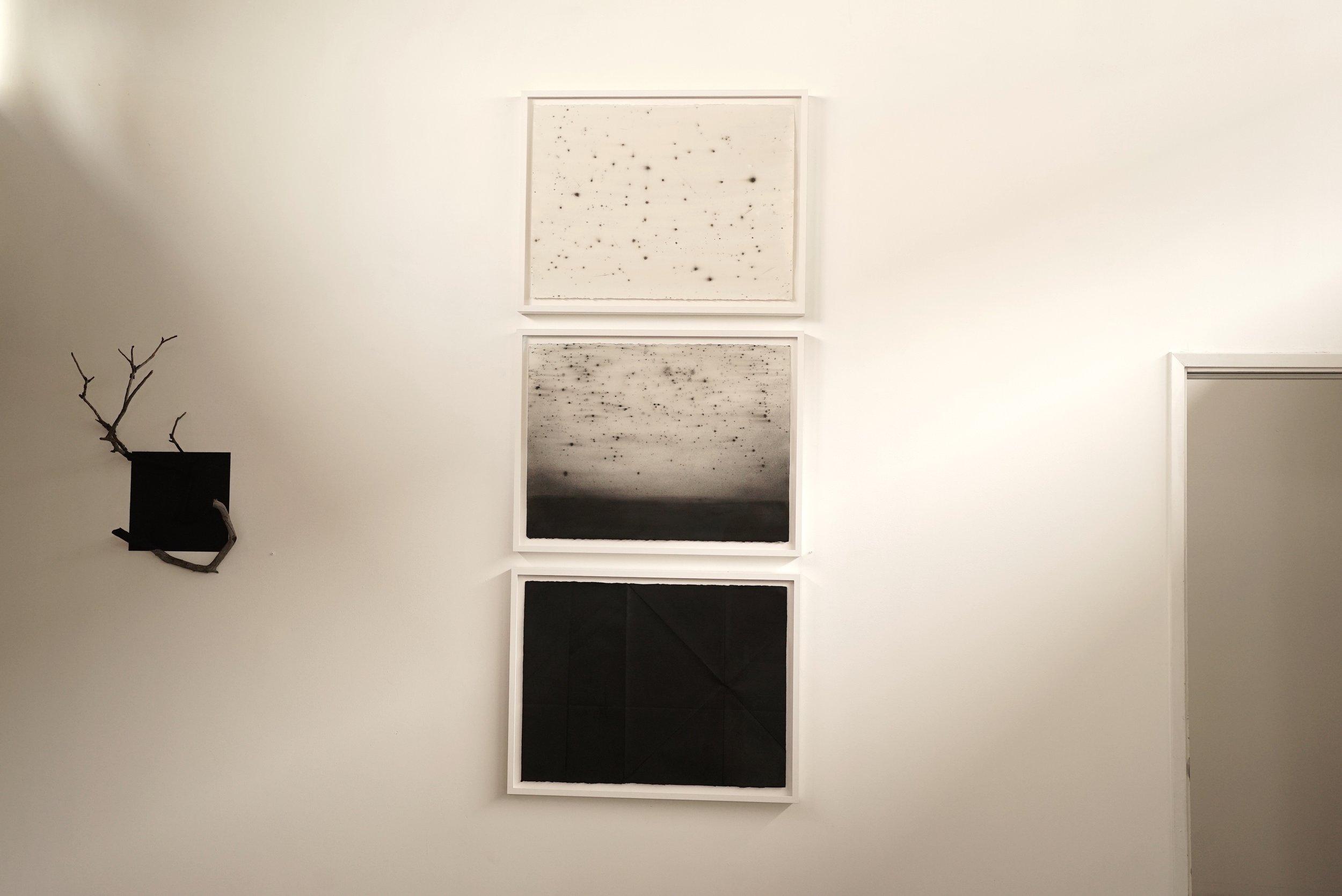 "Dessert Shakes.  2017 Triptych 3 x 101 x 56 cm/ 40 x 22"" Charcoal, pigment, wax on paper"
