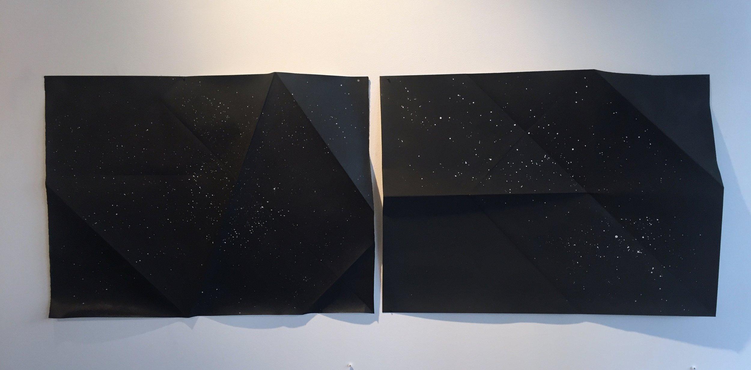 "Dark Cloud #5 & 6 Ink, Charcoal, Wax on paper 22 x 30"""