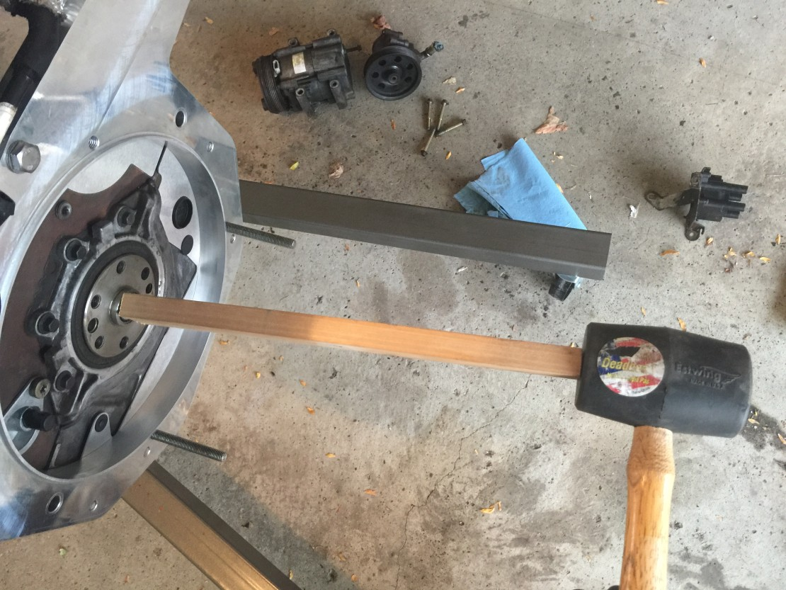 Setting The Pilot Bearing – Using a scrap piece of wood and rubber mallet worked great to get the pilot bearing flush.